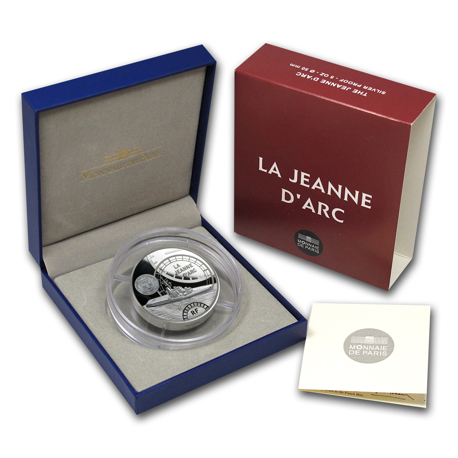 2012 5 oz Silver Proof Great French Ships - The Jeanne D´Arc