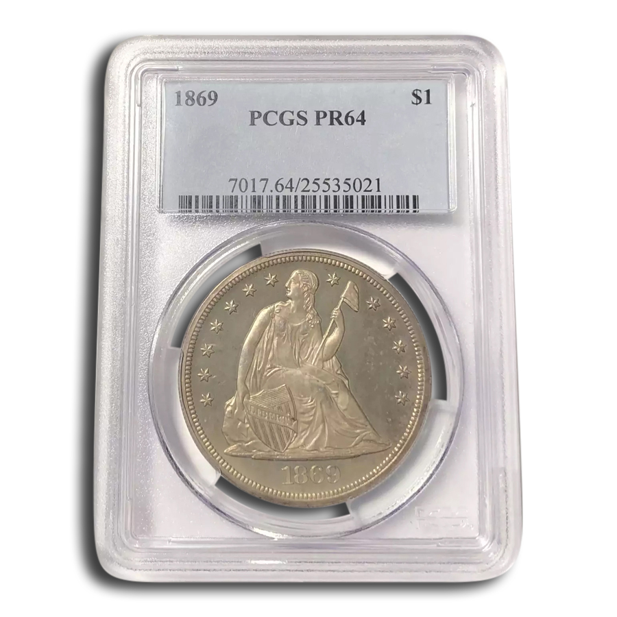 1869 Liberty Seated Dollar PR-64 PCGS