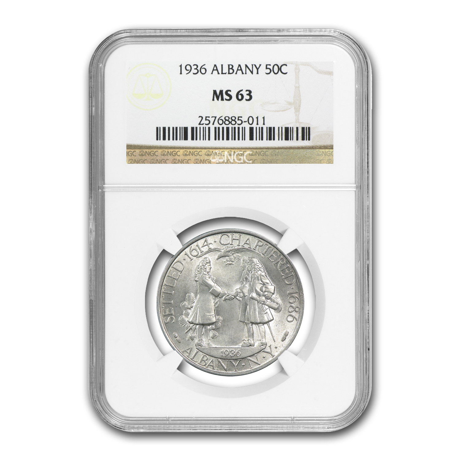 1936 Albany Half Dollar Commem MS-63 NGC
