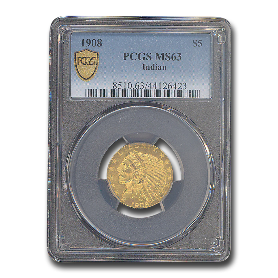 1908 $5 Indian Gold Half Eagle MS-63 PCGS