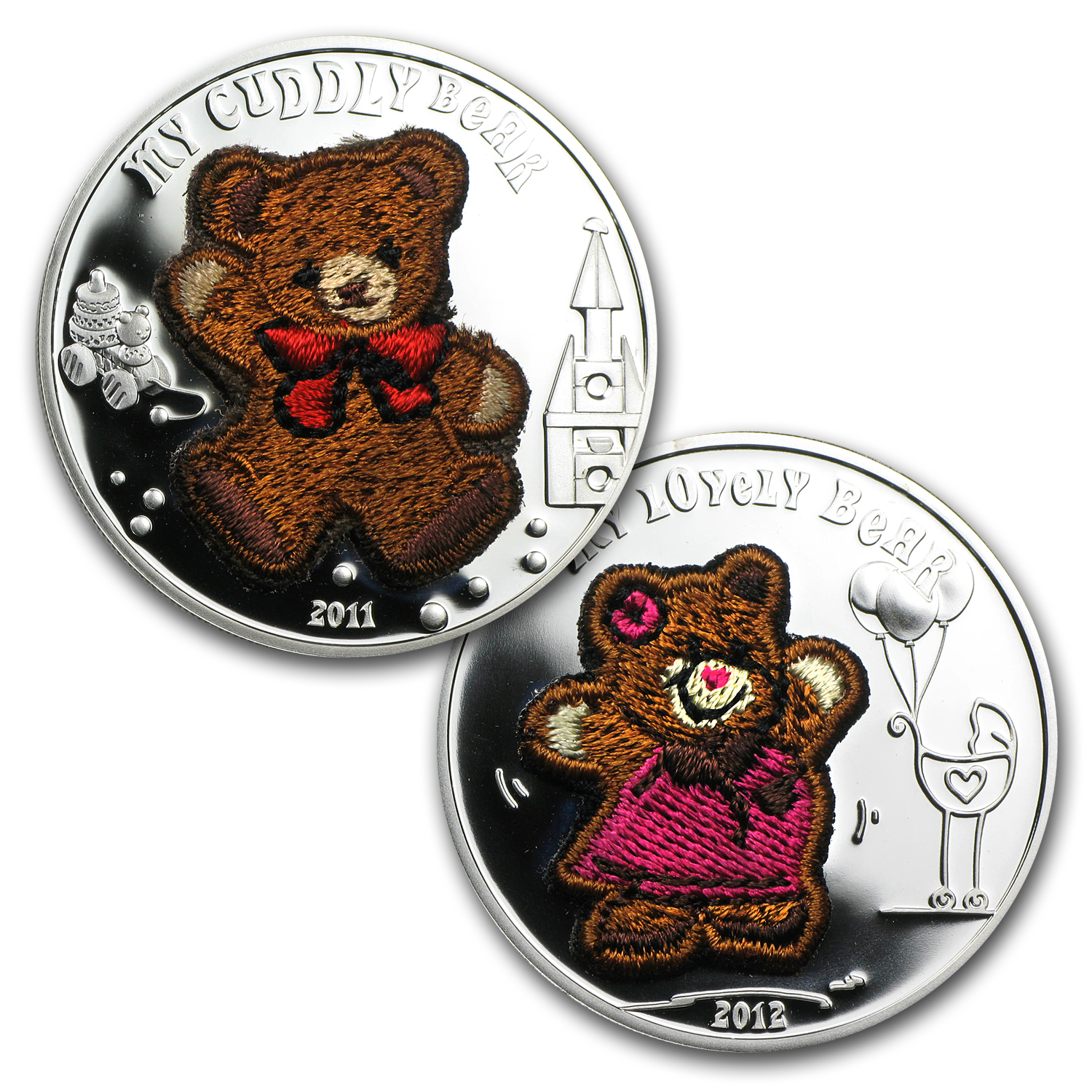 Palau Proof Silver $5 My Bears - Lovely and Cuddly - 2 Coin Set