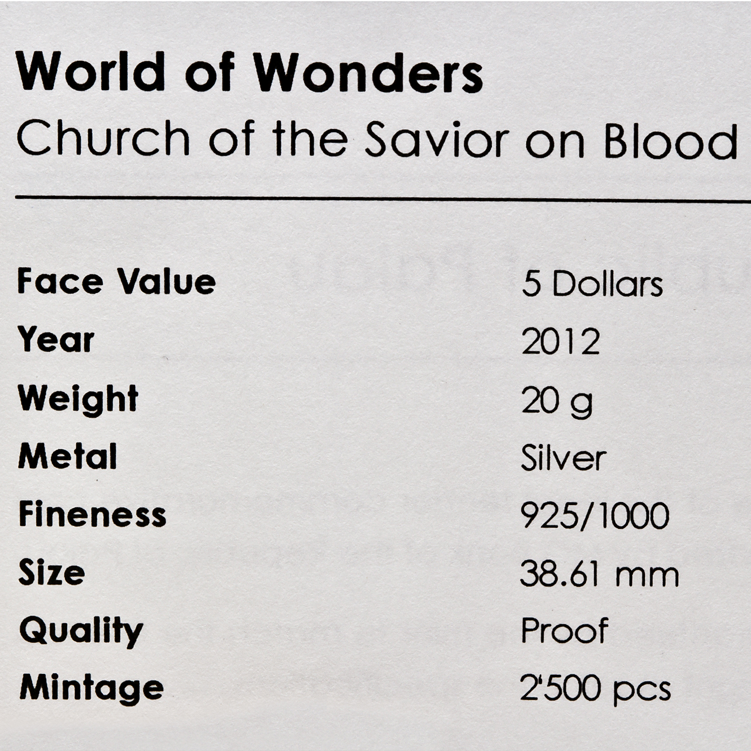 2012 Palau Silver World of Wonders Church of the Savior on Blood
