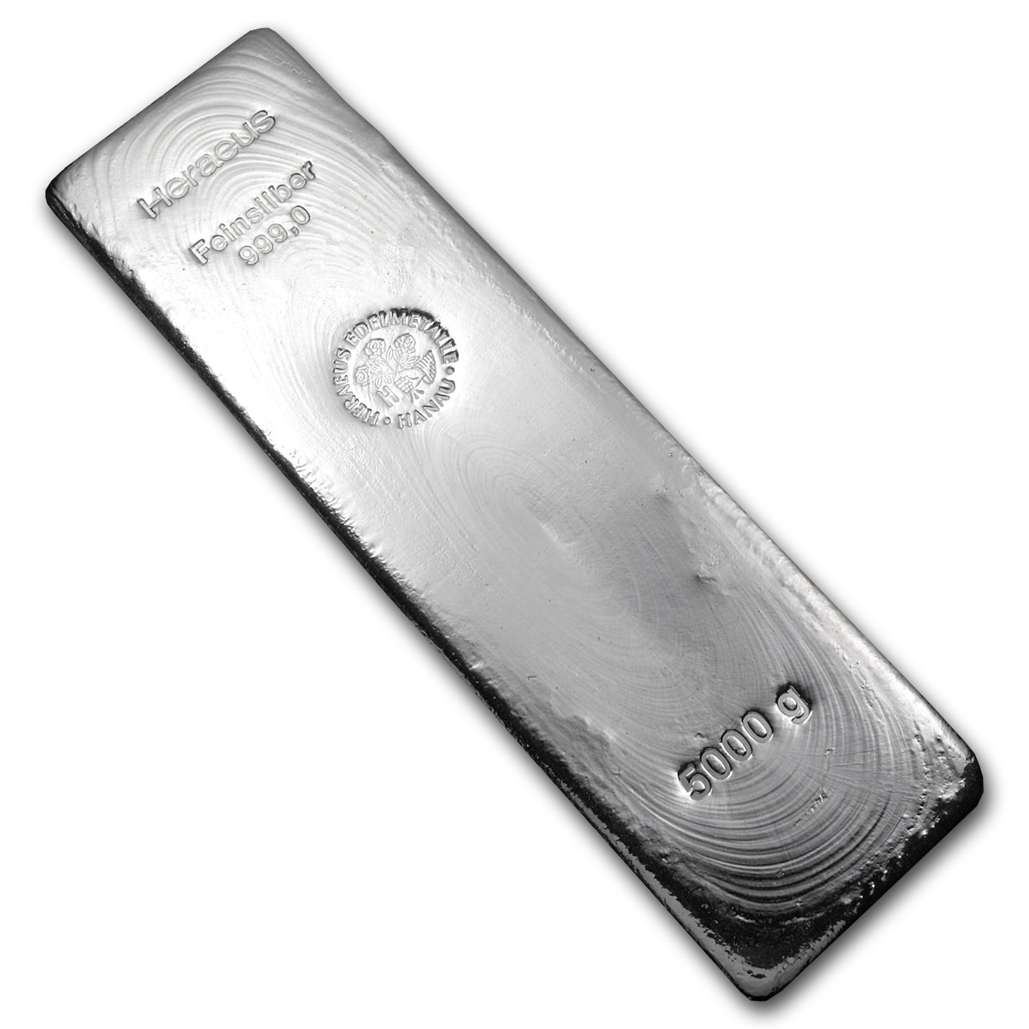 5000 gram Silver Bars - Heraeus (Poured)