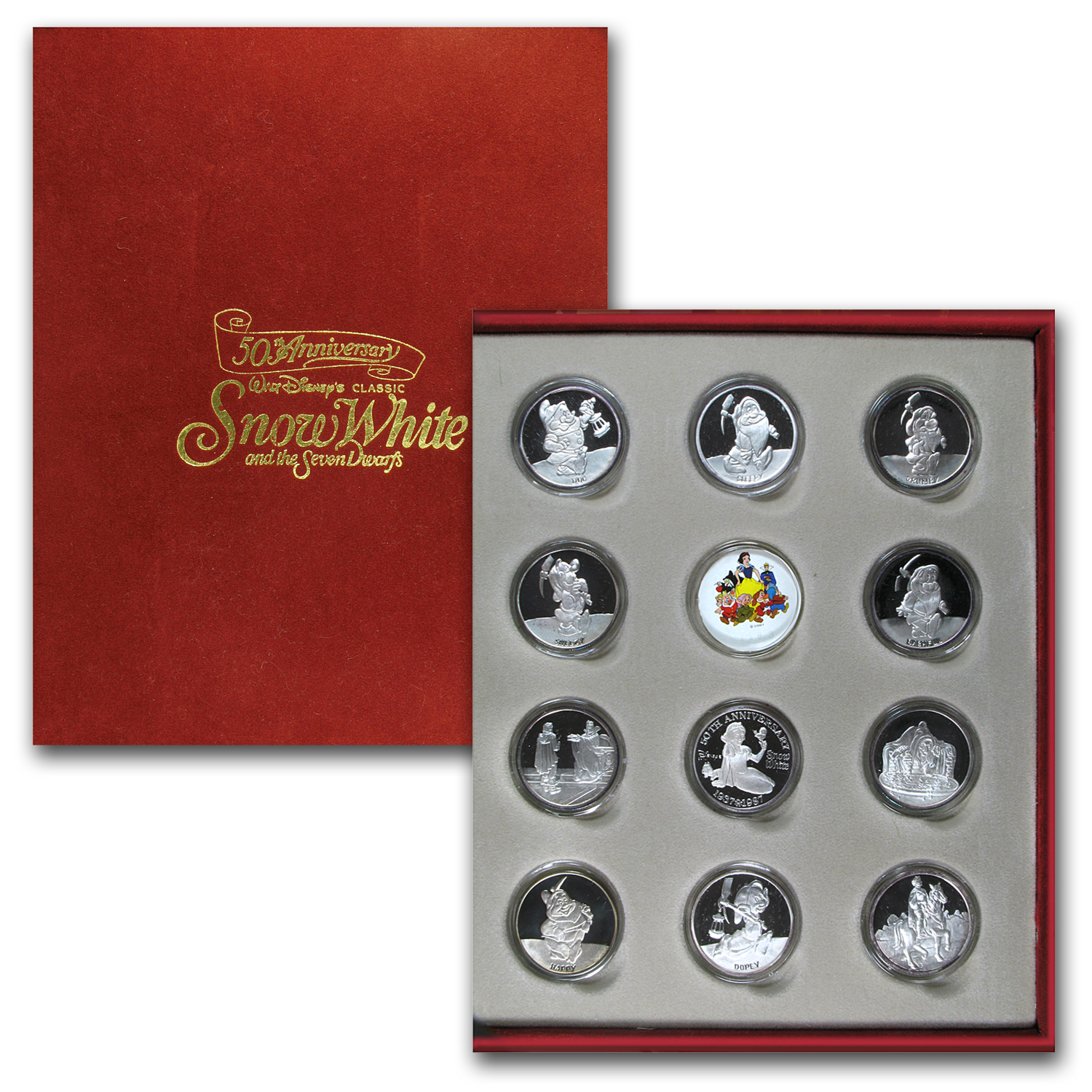 1 oz Silver Rounds - Disney/Snow White & the 7 Dwarfs (11 pc set)