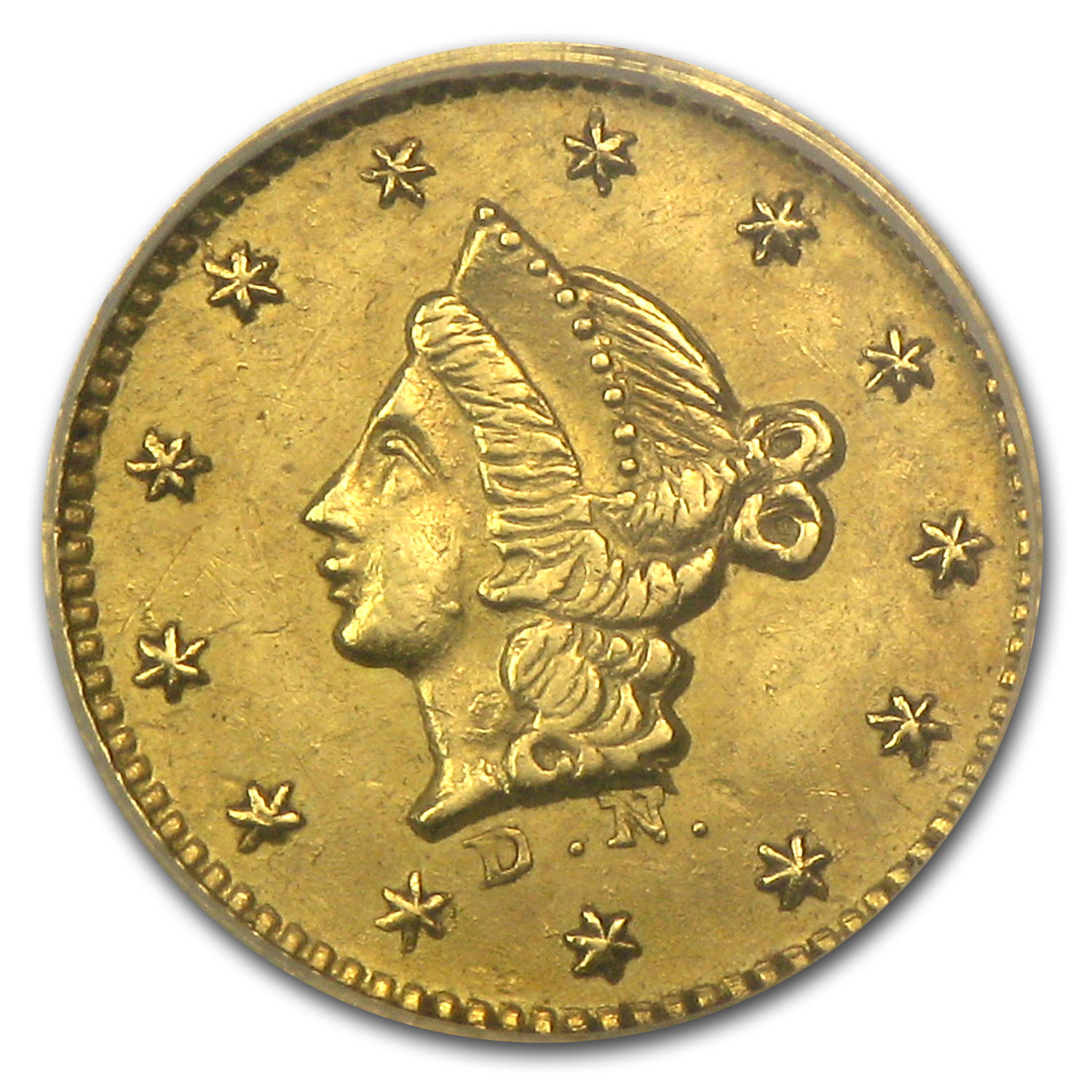 1852 BG-407 Liberty Round 50 Cent Gold AU-55 NGC