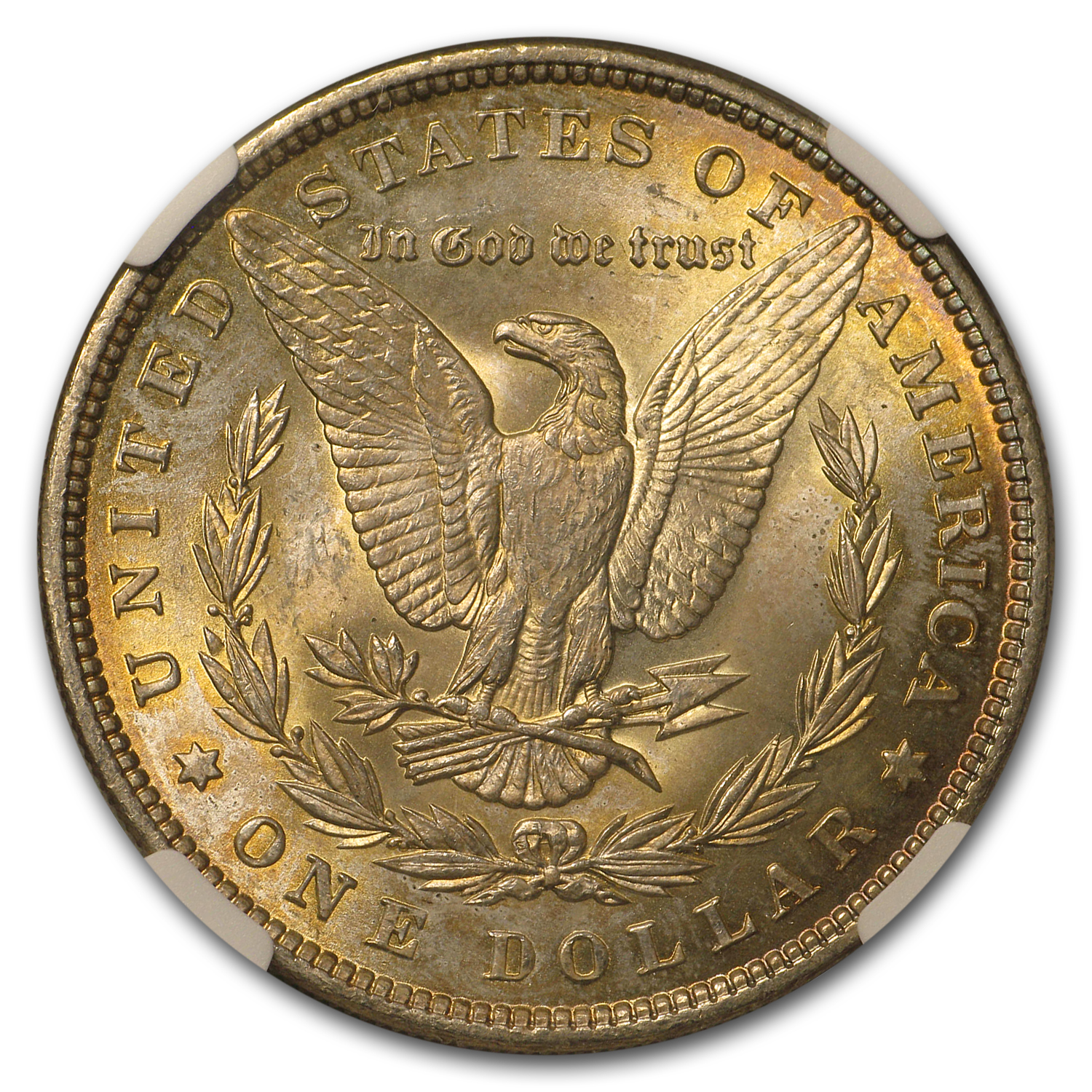 1896 Morgan Dollar MS-65 NGC Beautifully Toned Obverse