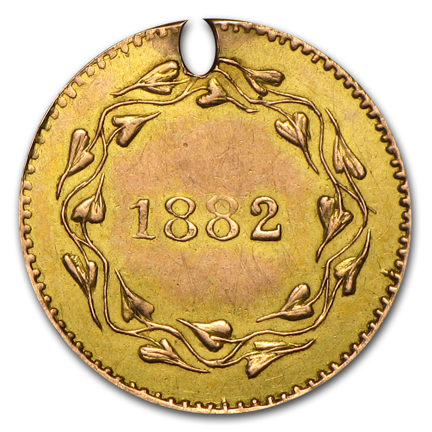 1882 Heron Round Wreath Gold Token AU Details (Holed)