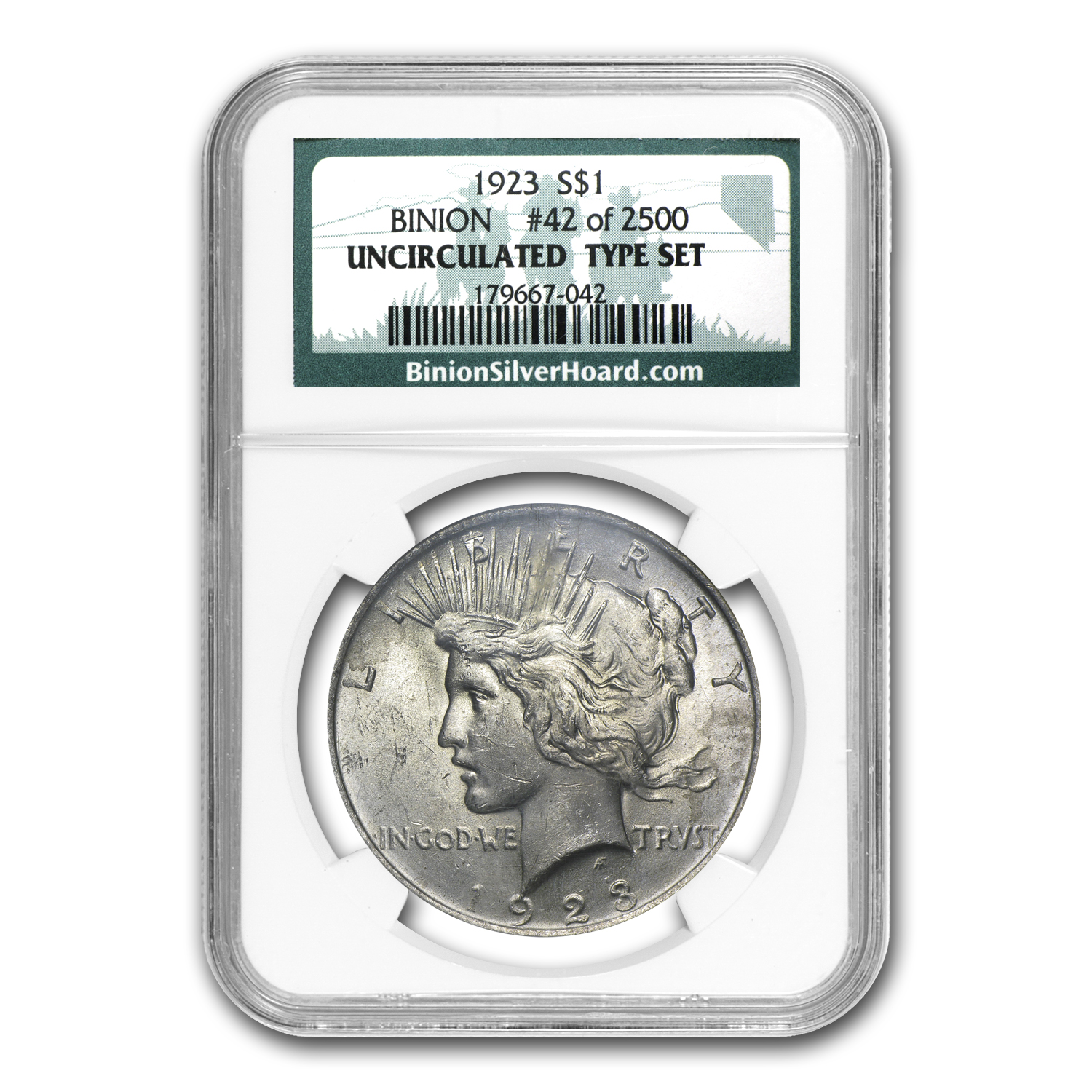 1923 Peace Dollar BU NGC (Binion Collection)