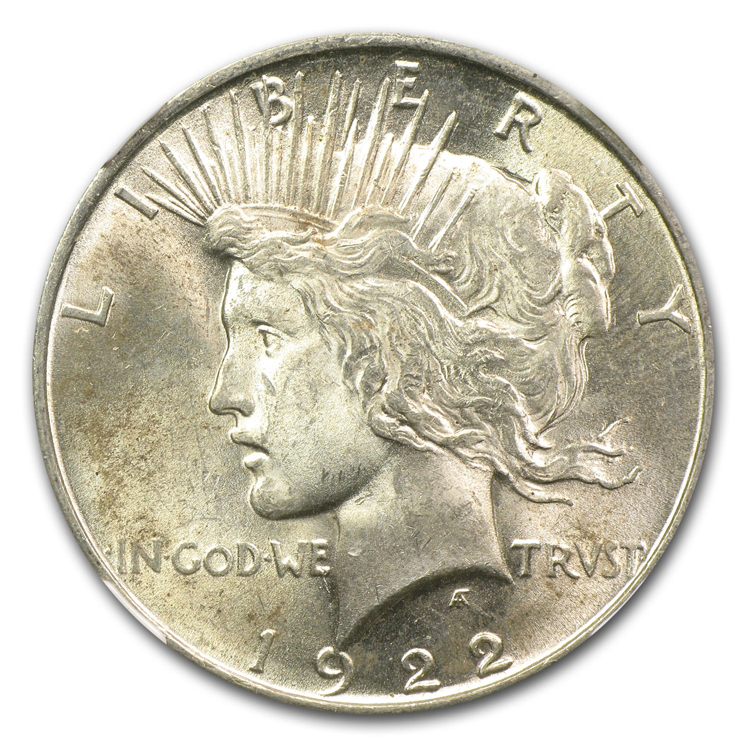 1922 Peace Dollar MS-62 NGC VAM-1F LDS Field Die Break Top-50