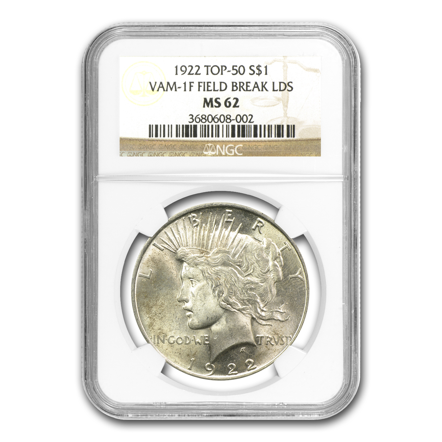 1922 Peace Dollar MS-62 NGC (VAM-1F LDS, Field Die Break, Top-50)