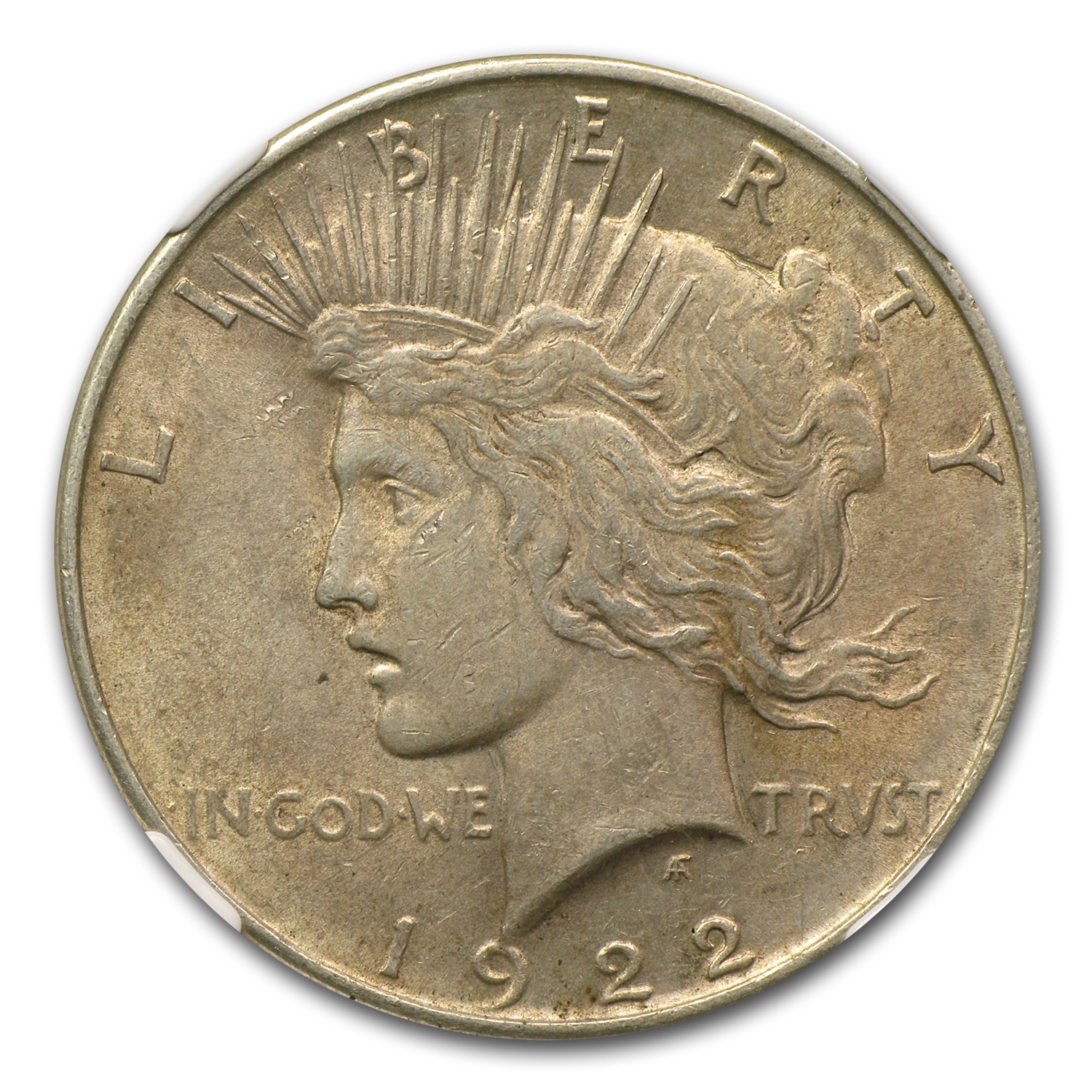 1922 Peace Dollar AU-55 NGC VAM-1F EDS Field Die Break Top-50