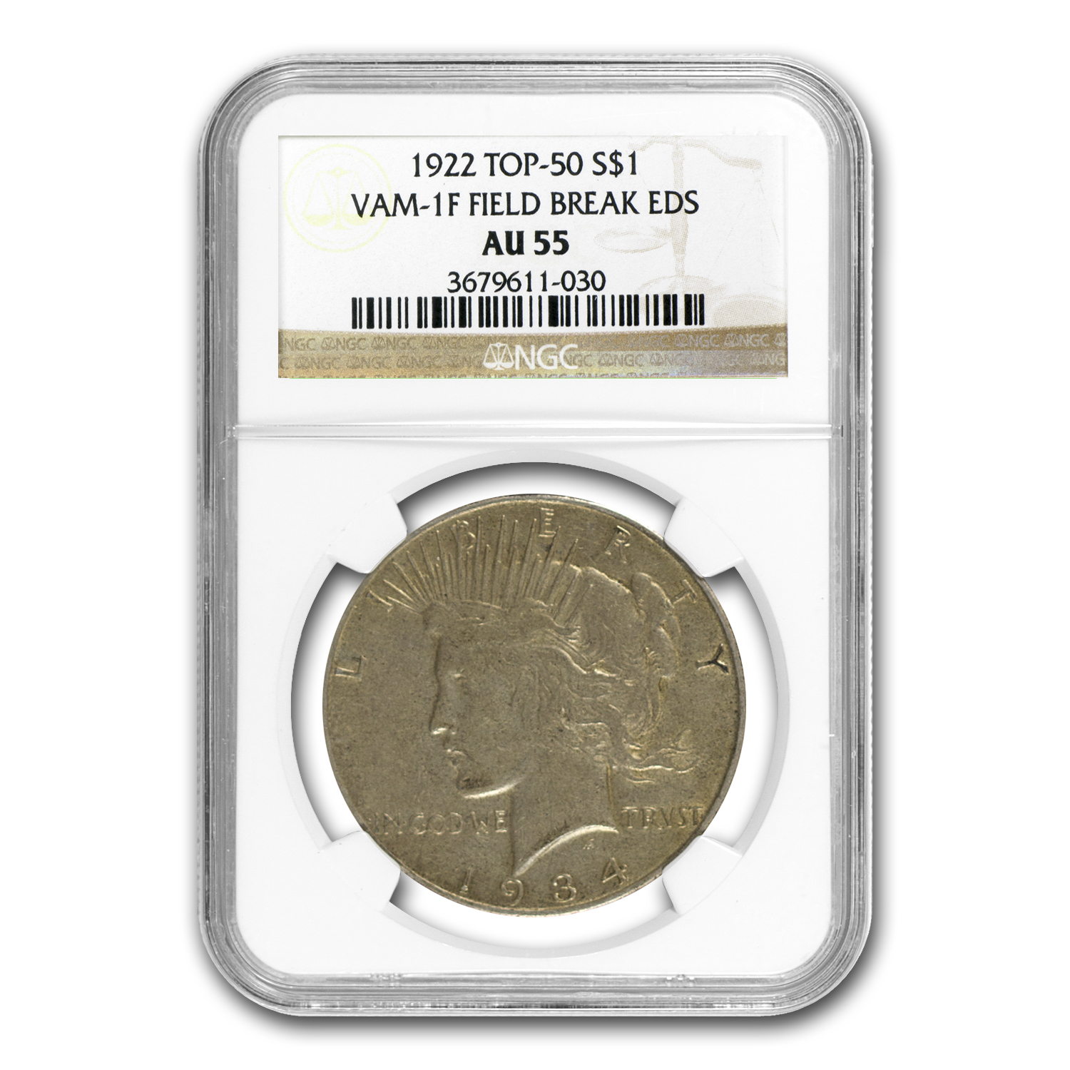 1922 Peace Dollar AU-55 NGC (VAM-1F EDS Field Die Break, Top-50)