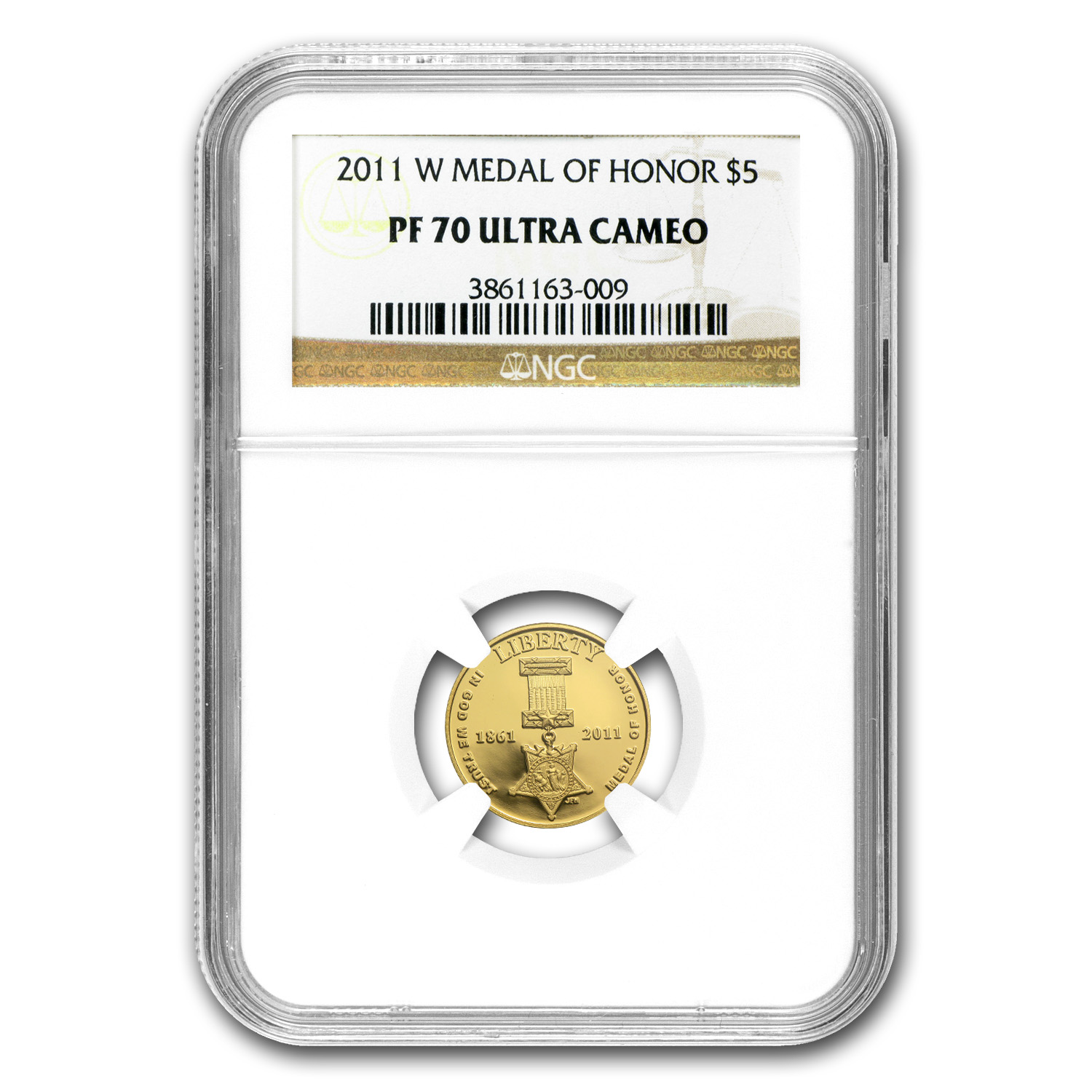 2011-W Gold $5 Commem Medal of Honor PF-70 NGC