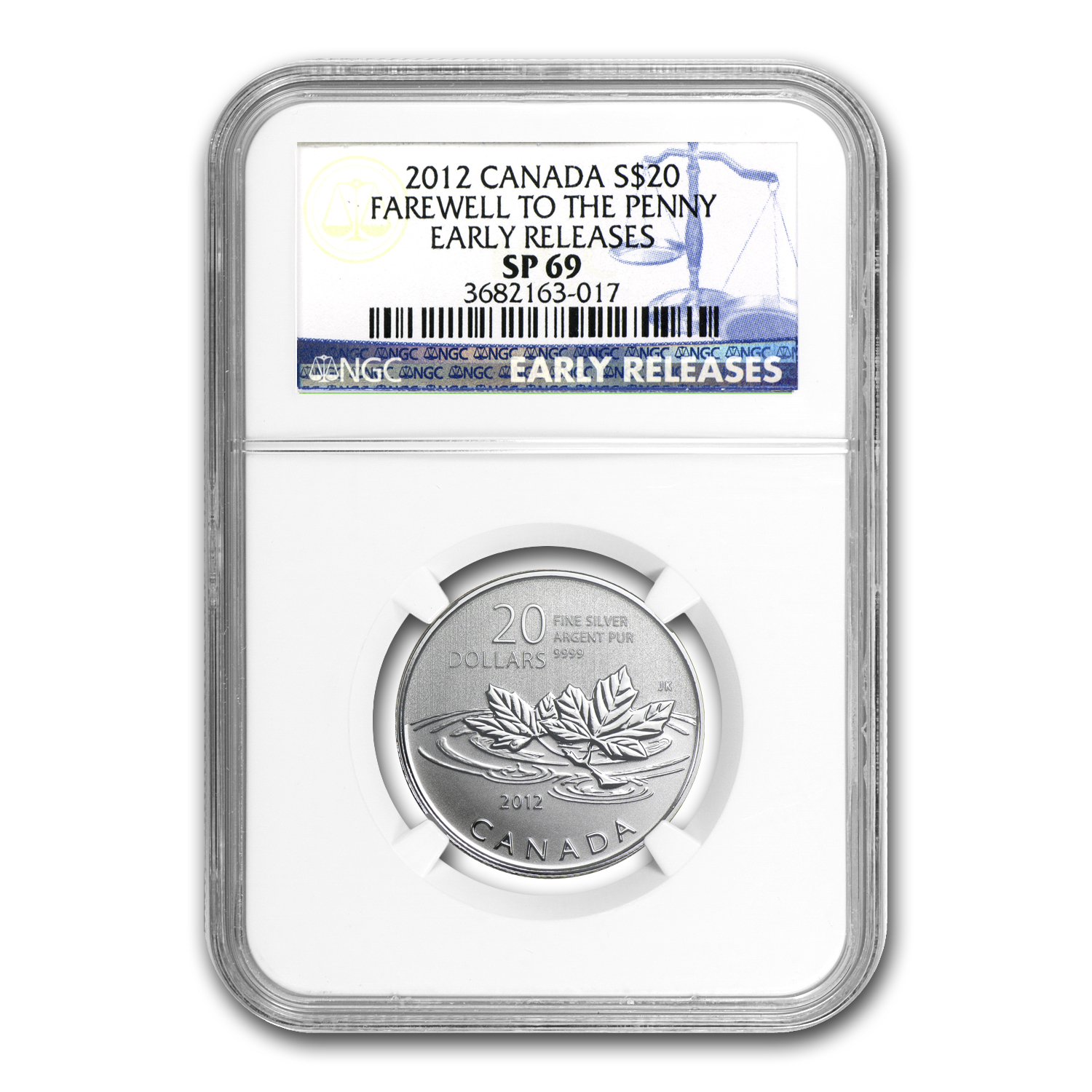 2012 1/4 oz Silver Canadian $20 Farewell to Penny SP-69 NGC (ER)