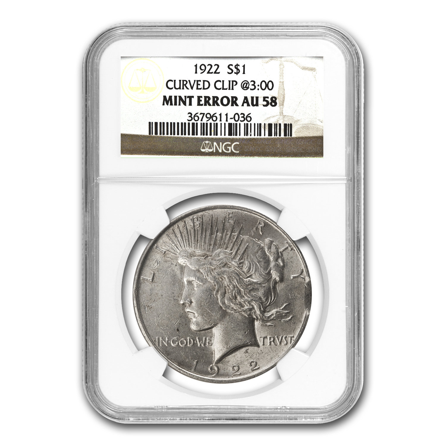 1922 Peace Dollar AU-58 NGC - Clipped Planchet Mint Error