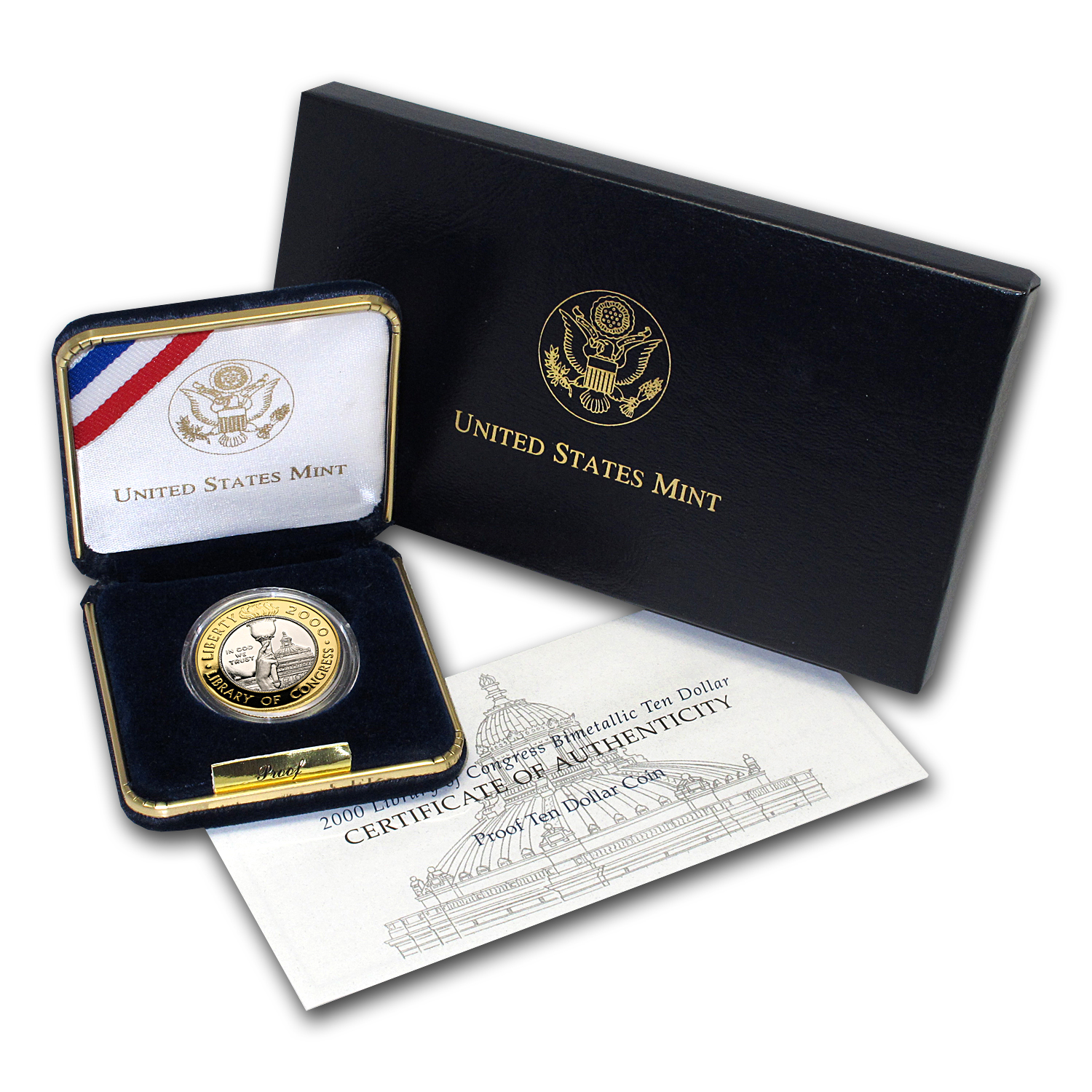 2000-W Gold/Platinum $10 Commem Library of Congress Pf (Box/COA)