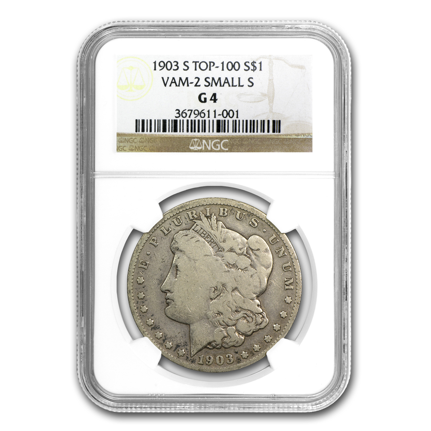 1903-S Morgan Dollar Good-4 NGC (VAM-2, Micro-S, Top-100)