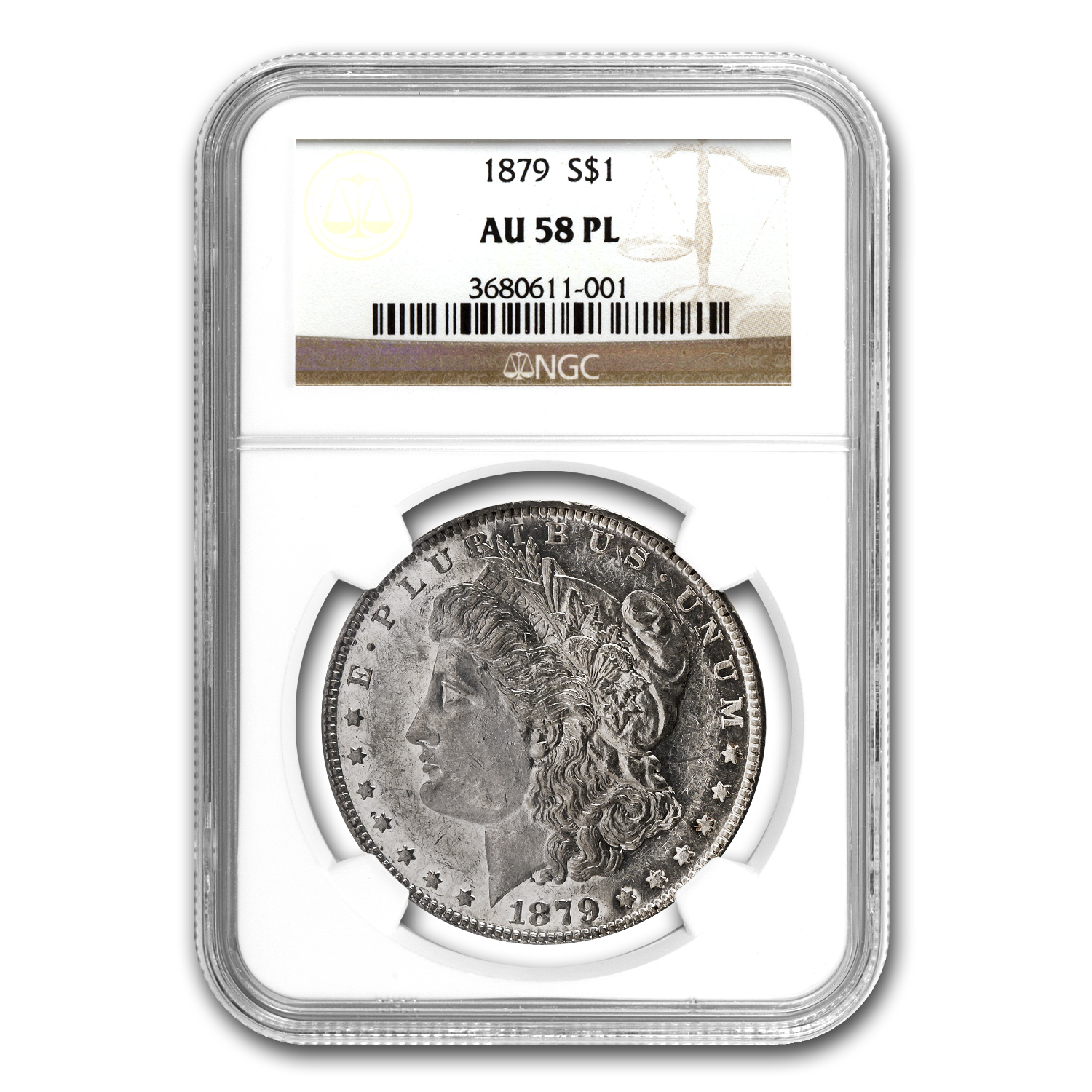 1879 Morgan Dollar AU-58 PL Proof Like NGC
