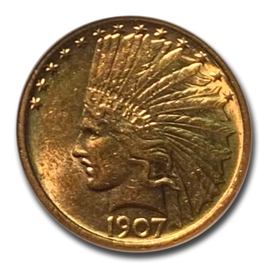 1907 $10 Indian Gold Eagle - No Motto - AU-55 NGC
