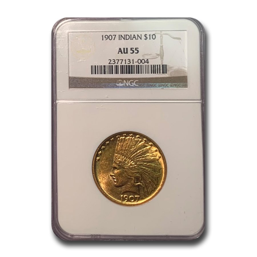 1907 $10 Indian Gold Eagle No Motto AU-55 NGC