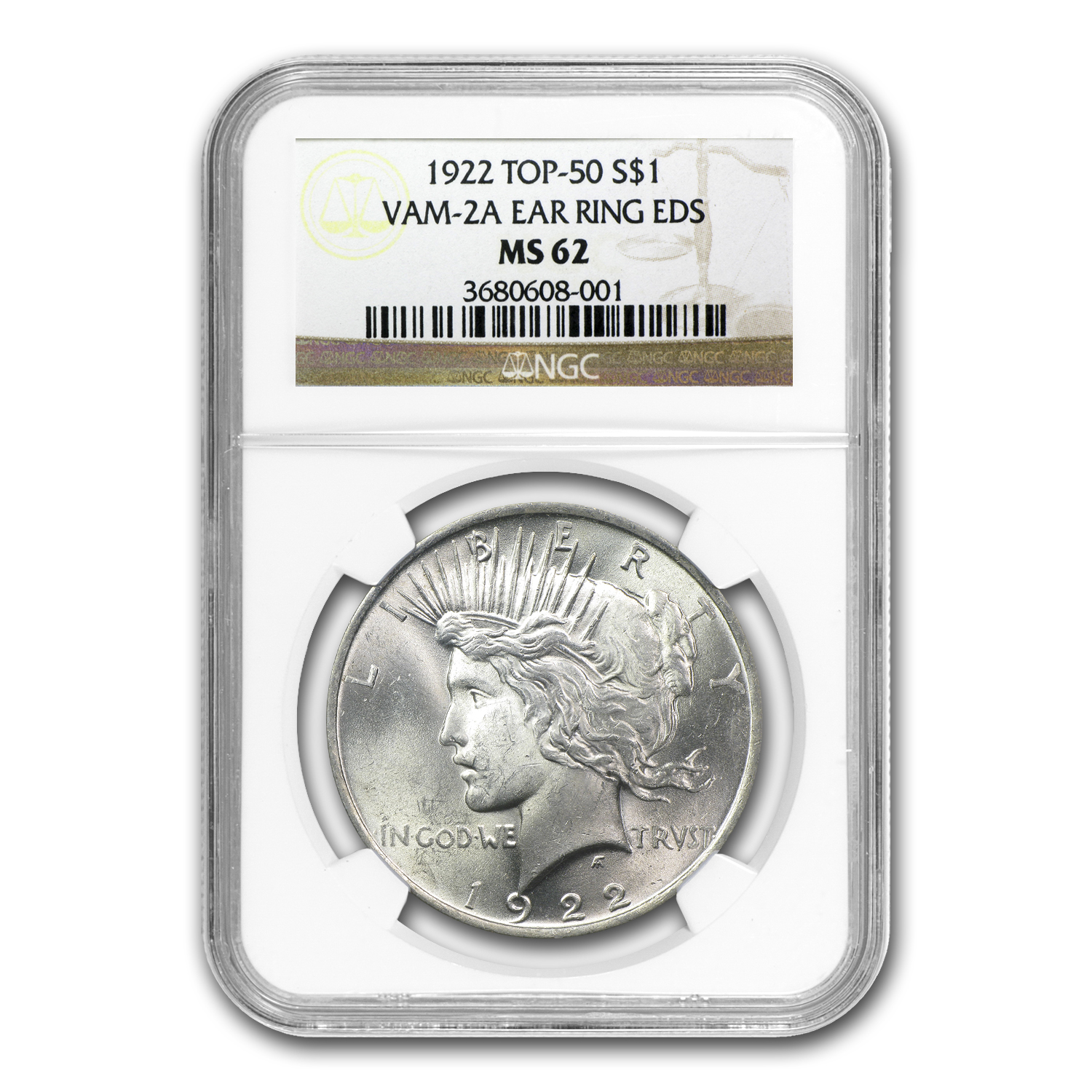 1922 Peace Dollar MS-62 NGC (VAM-2A, Ear Ring EDS, Top-50)