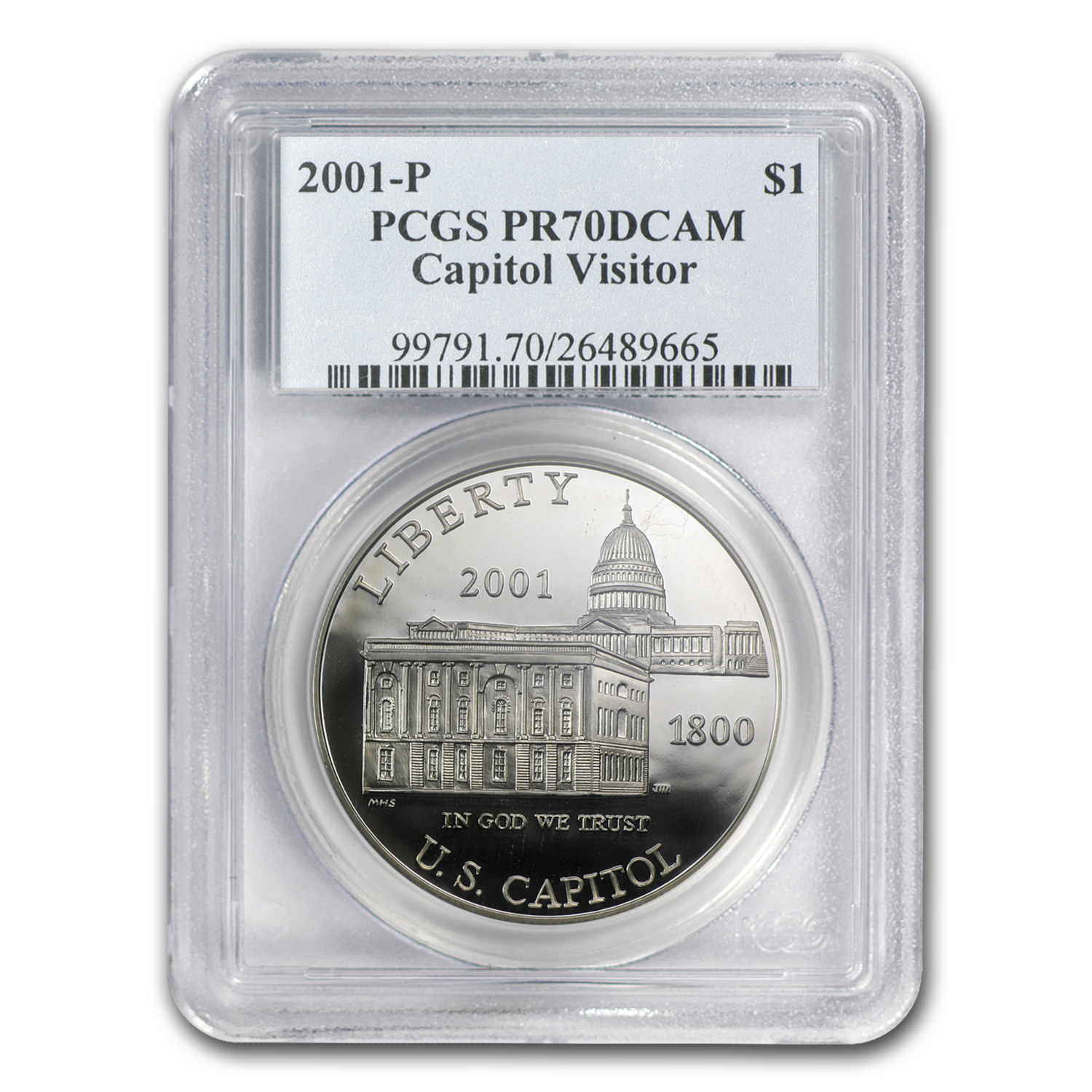 2001-P Capitol Visitor Center $1 Silver Commem PR-70 PCGS