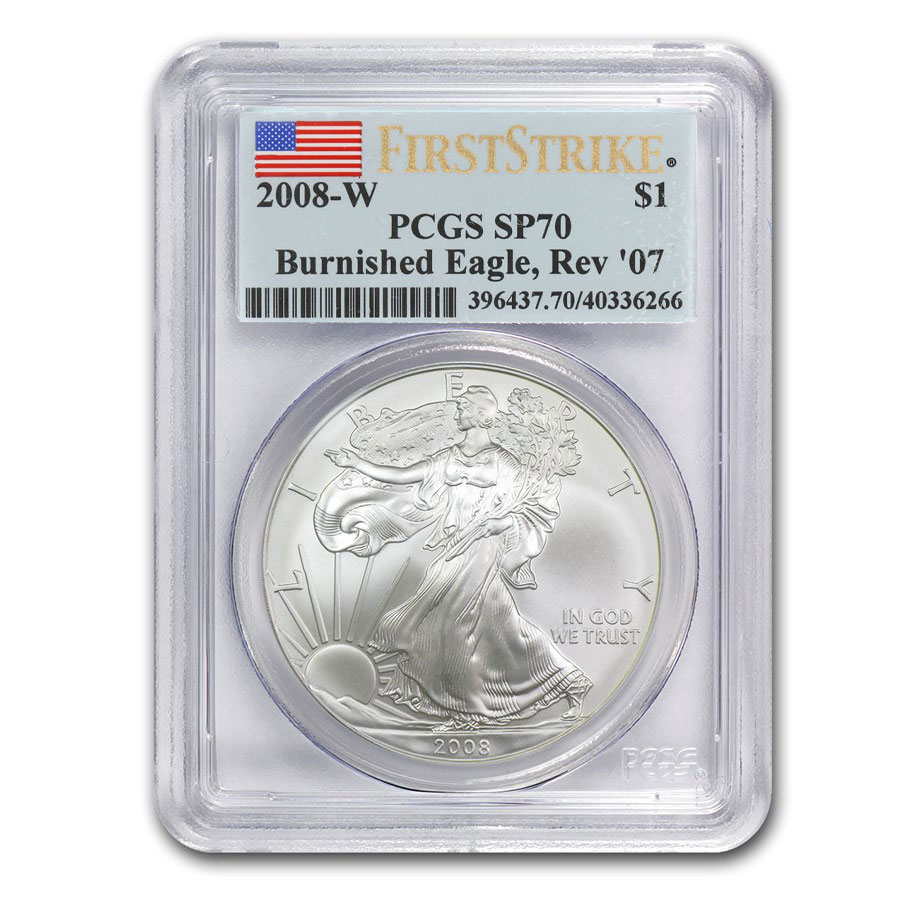 2008-W (Burnished) Silver American Eagle MS-70 PCGS FS (Rev '07)