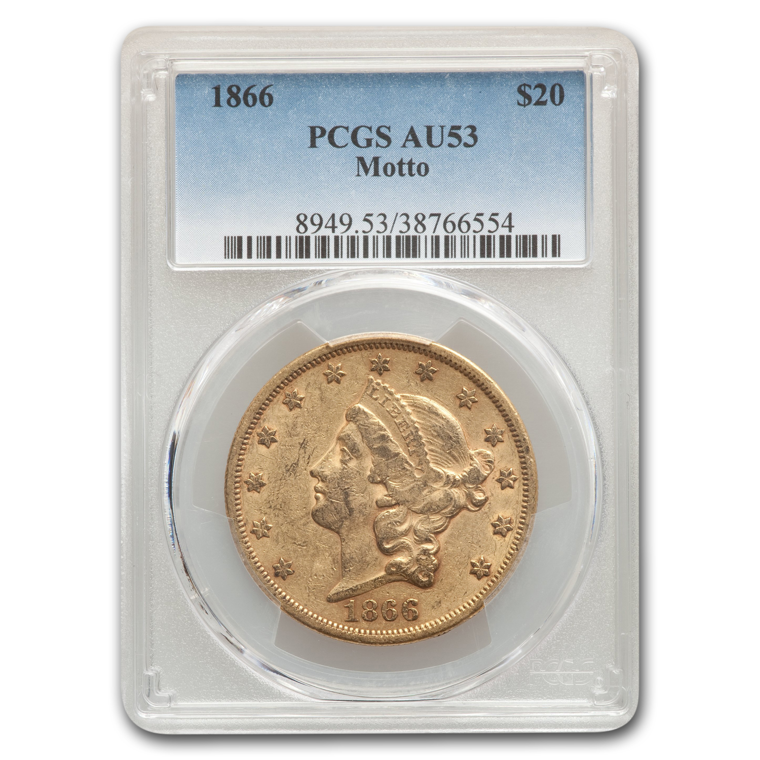 1866 $20 Gold Liberty Double Eagle AU-53 PCGS (w/Motto)