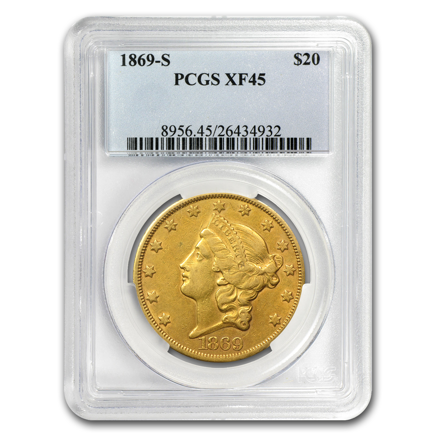 1869-S $20 Gold Liberty Double Eagle - XF-45 PCGS