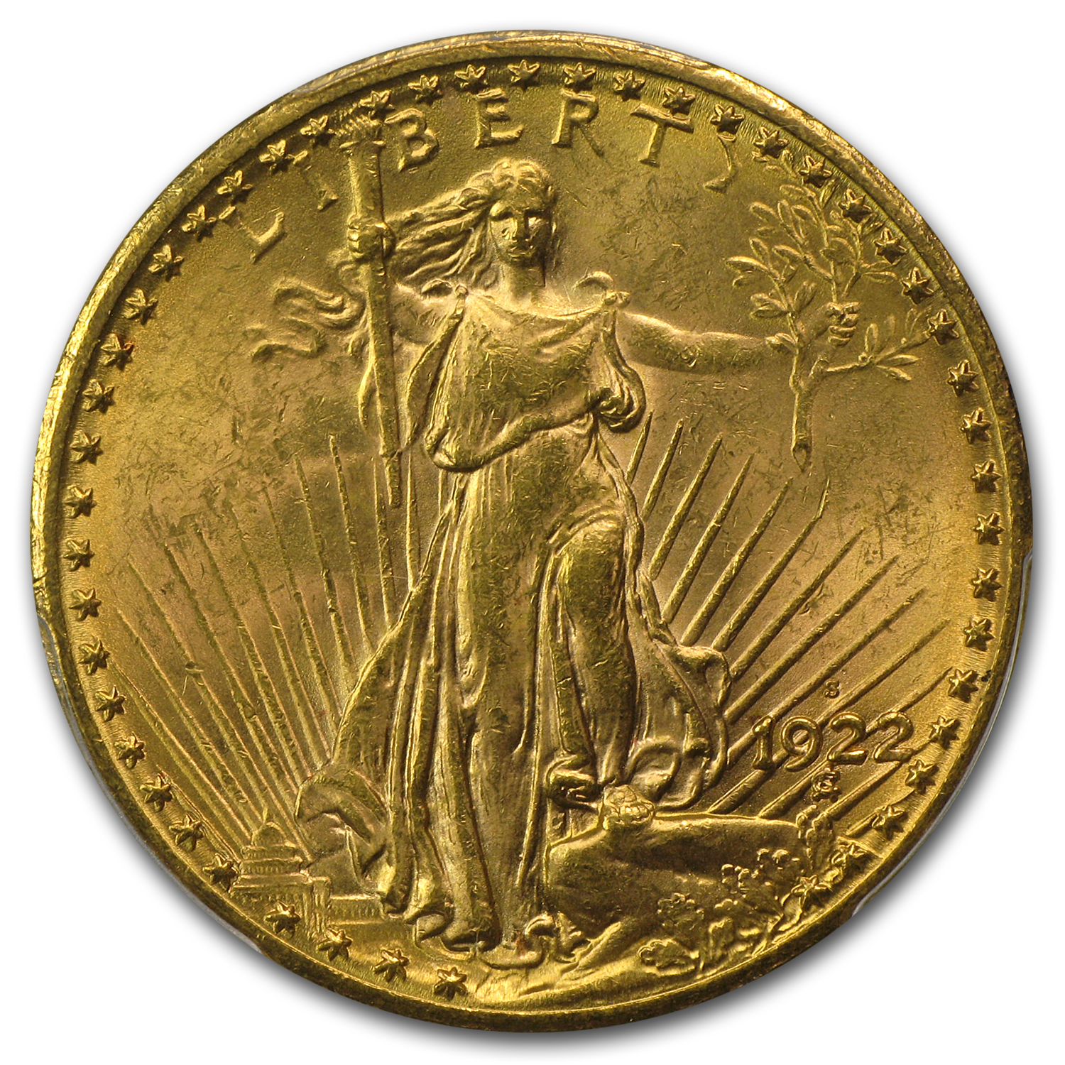 1922-S $20 St. Gaudens Gold Double Eagle MS-62+ PCGS