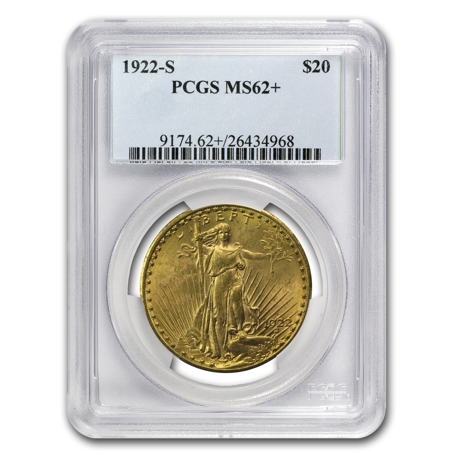 1922-S $20 Saint-Gaudens Gold Double Eagle MS-62+ PCGS