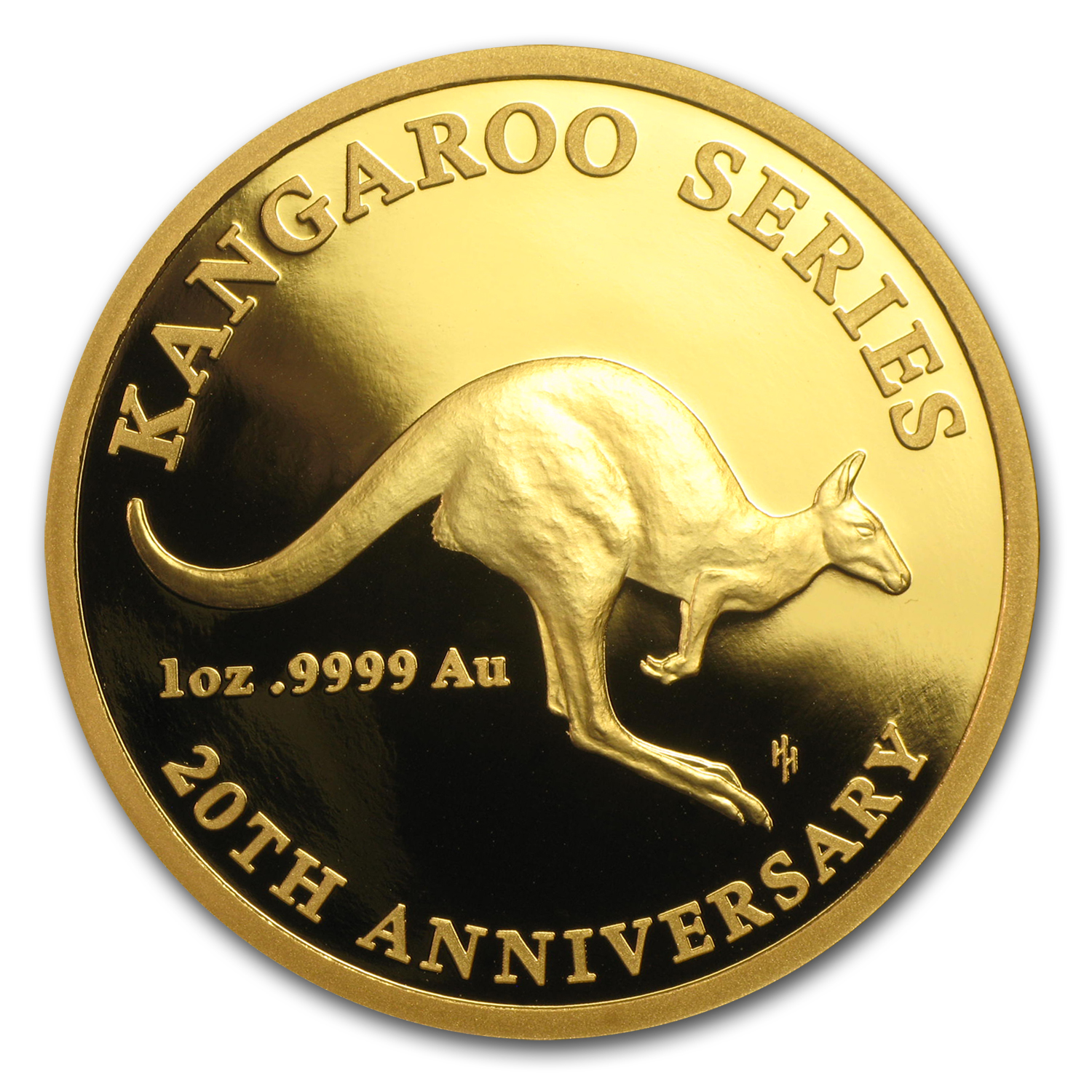2013 1 oz Gold Royal Australian Mint $100 20th Anniv Kangaroo Prf