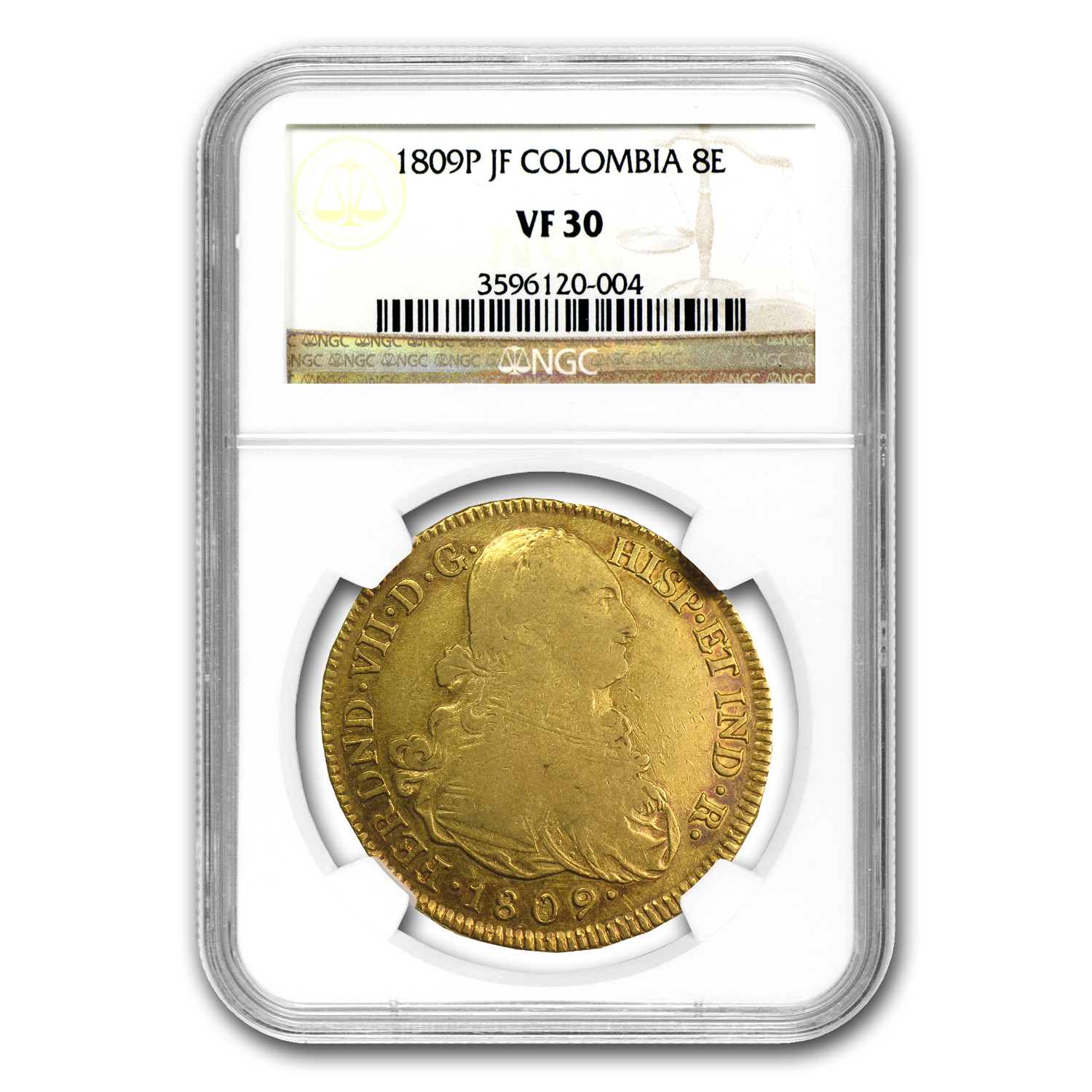 1809 P-JF Colombia Gold 8 Escudo Ferdinand VII VF-30 NGC