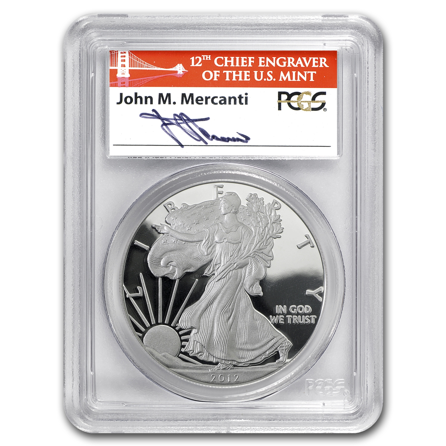 2012-S Proof Silver Eagle PR-70 PCGS (FS) John Mercanti