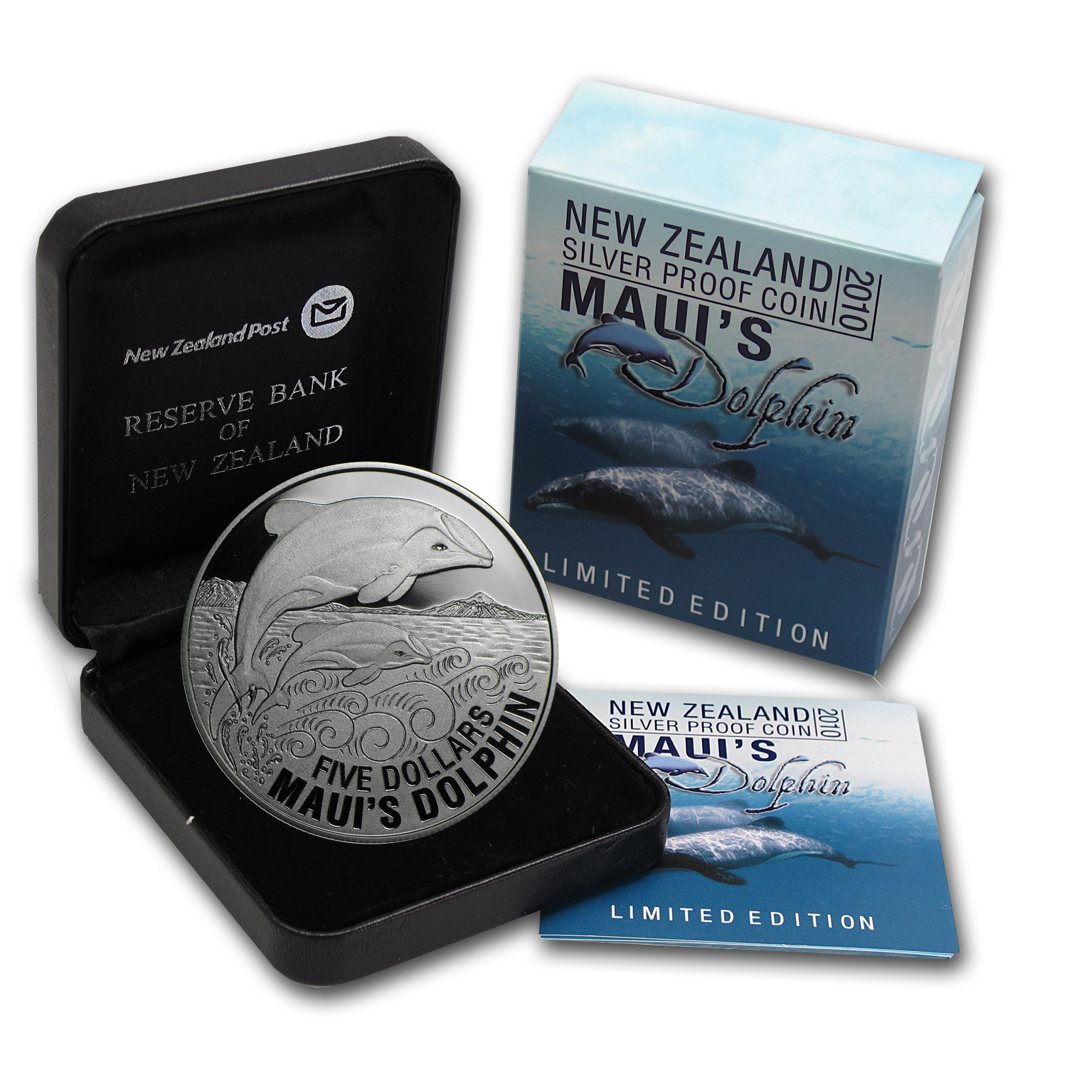 2010 1 oz Silver New Zealand $5 - Maui's Dolphin Proof Coin