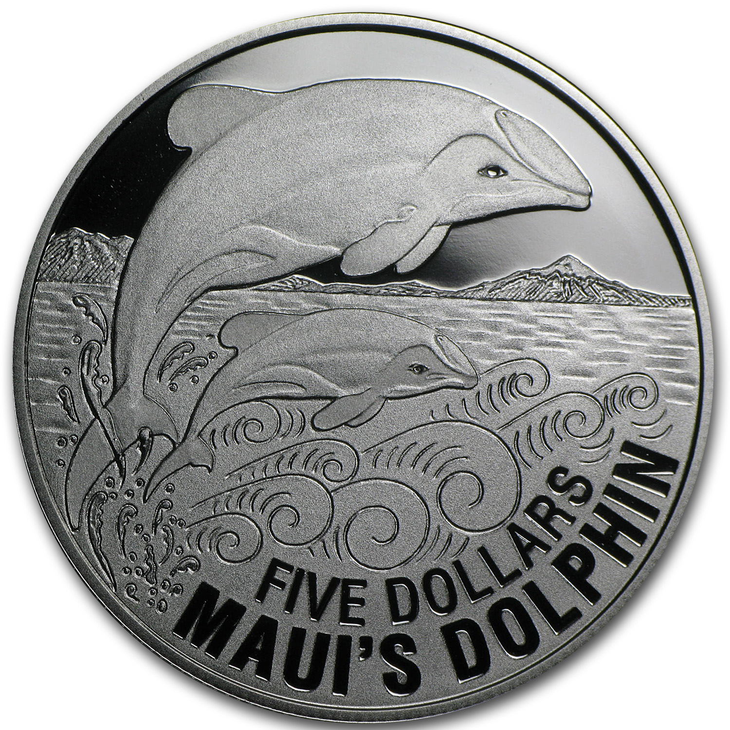 2010 New Zealand 1 oz Silver $5 Maui's Dolphin Proof