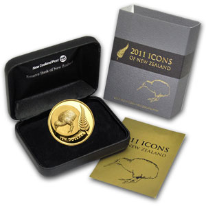 2011 New Zealand 1/4 oz Proof Gold Kiwi & Fern