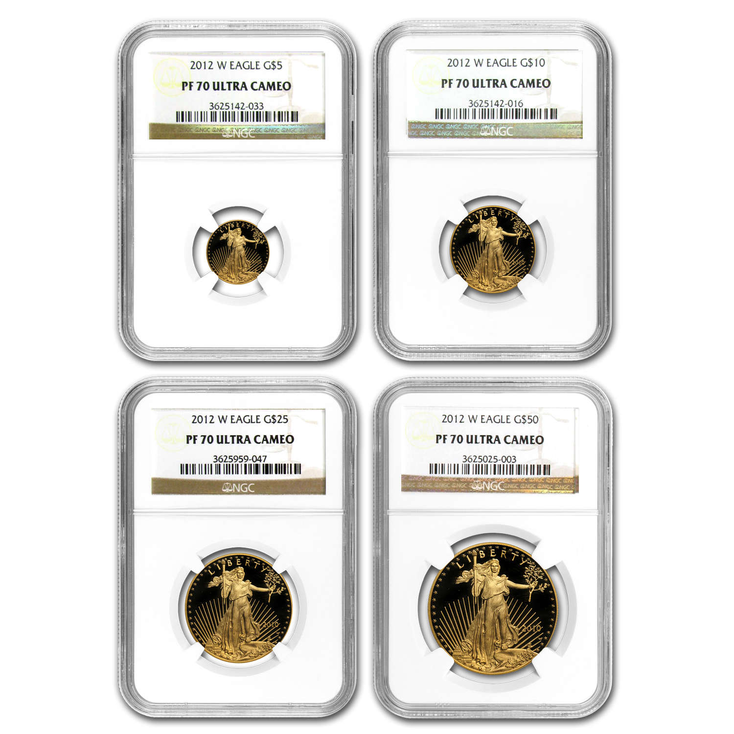 2012-W 4-Coin Proof Gold American Eagle Set PF-70 NGC