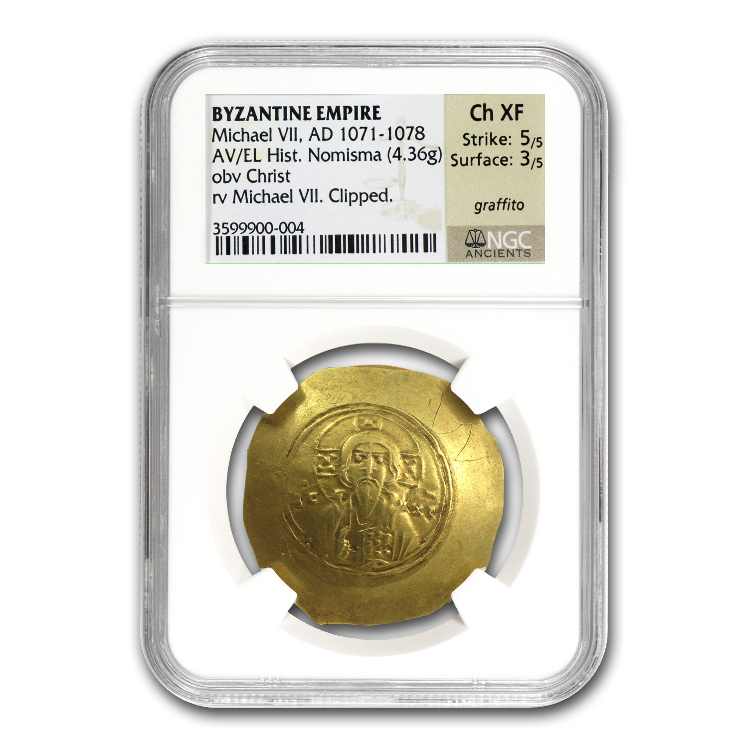 Byzantine Gold Histamenon Michael VIICh XF NGC (1071-1078 AD)