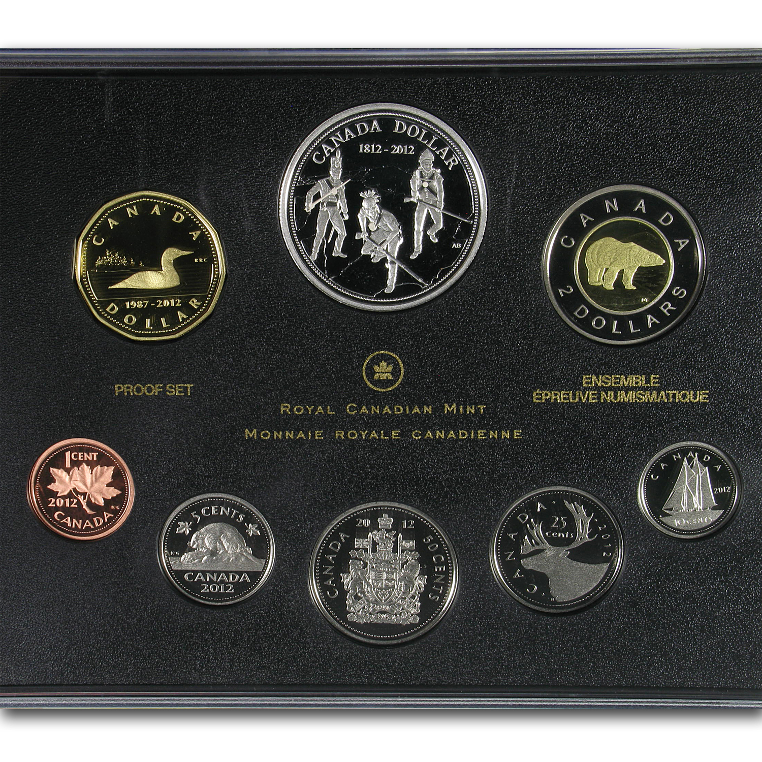 2012 Canada 8-Coin Silver Dollar War of 1812 Proof Set