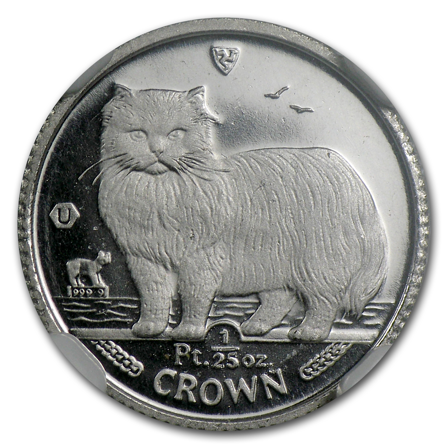 1989 1/25 oz Isle of Man Platinum Persian Cat MS-69 NGC
