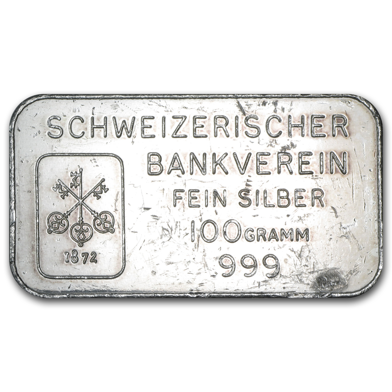 100 gram Silver Bar - Johnson Matthey (London/Schweizerischer)