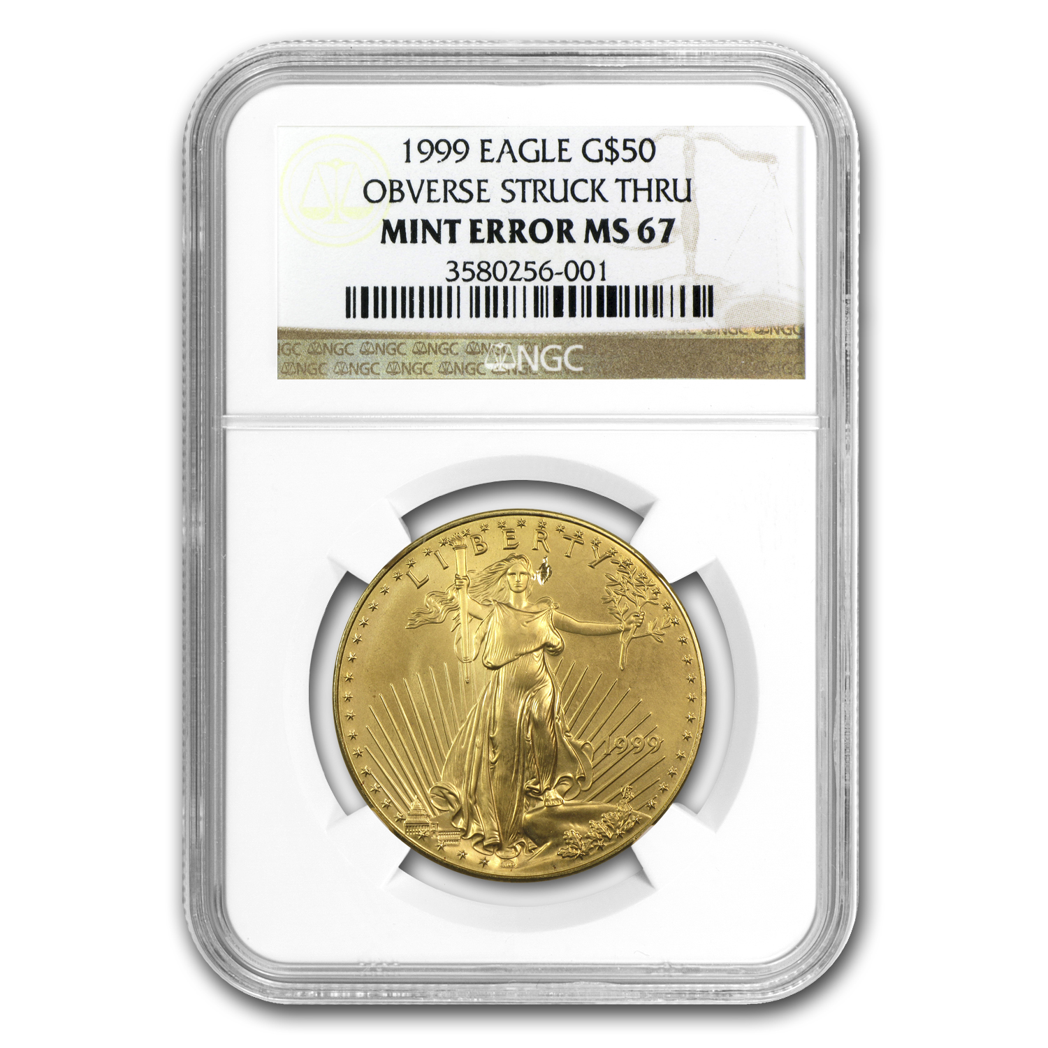 1999 1 oz Gold American Eagle MS-67 NGC Mint Error