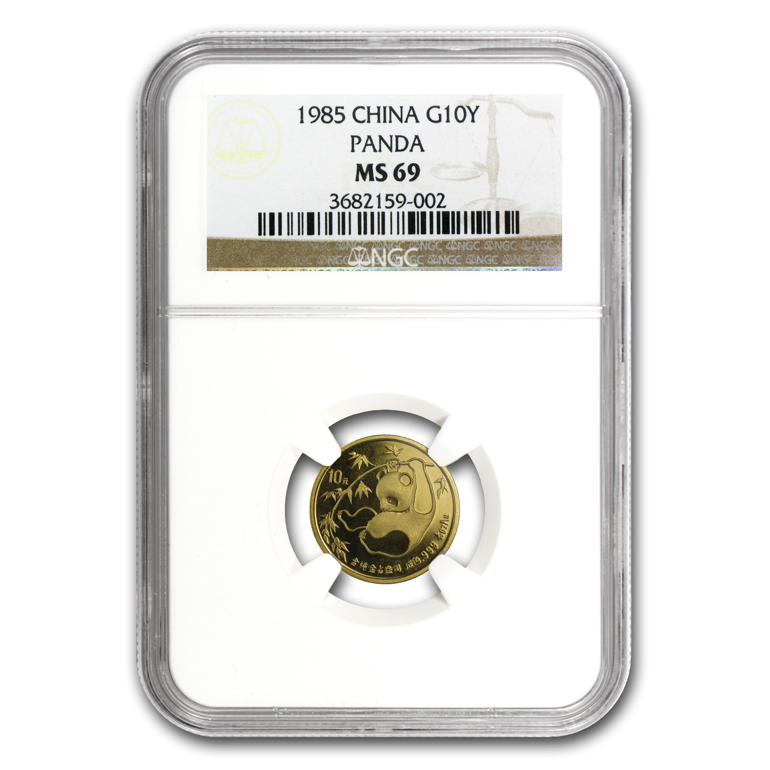 1985 China 1/10 oz Gold Panda MS-69 NGC