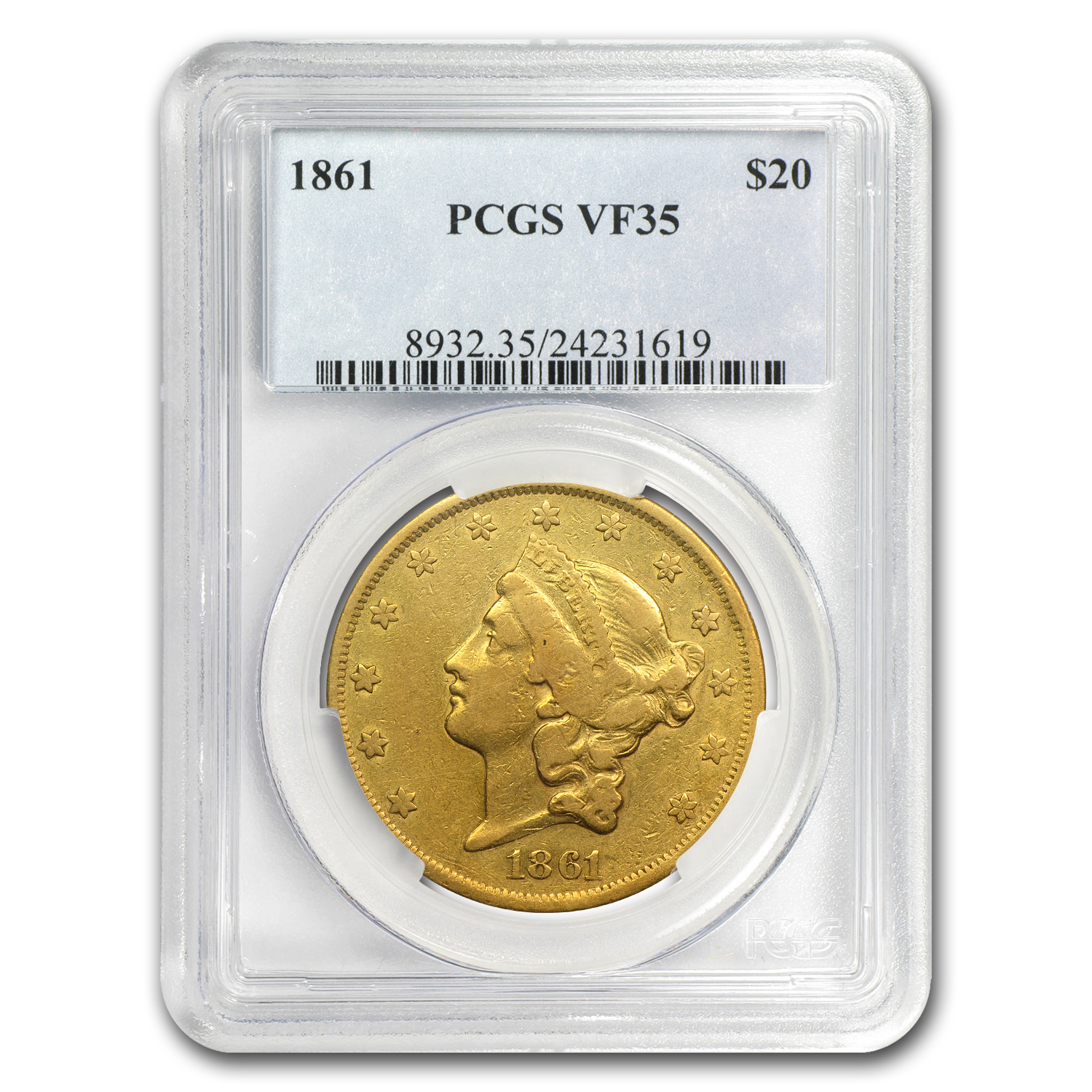 1861 $20 Liberty Gold Double Eagle VF-35 PCGS