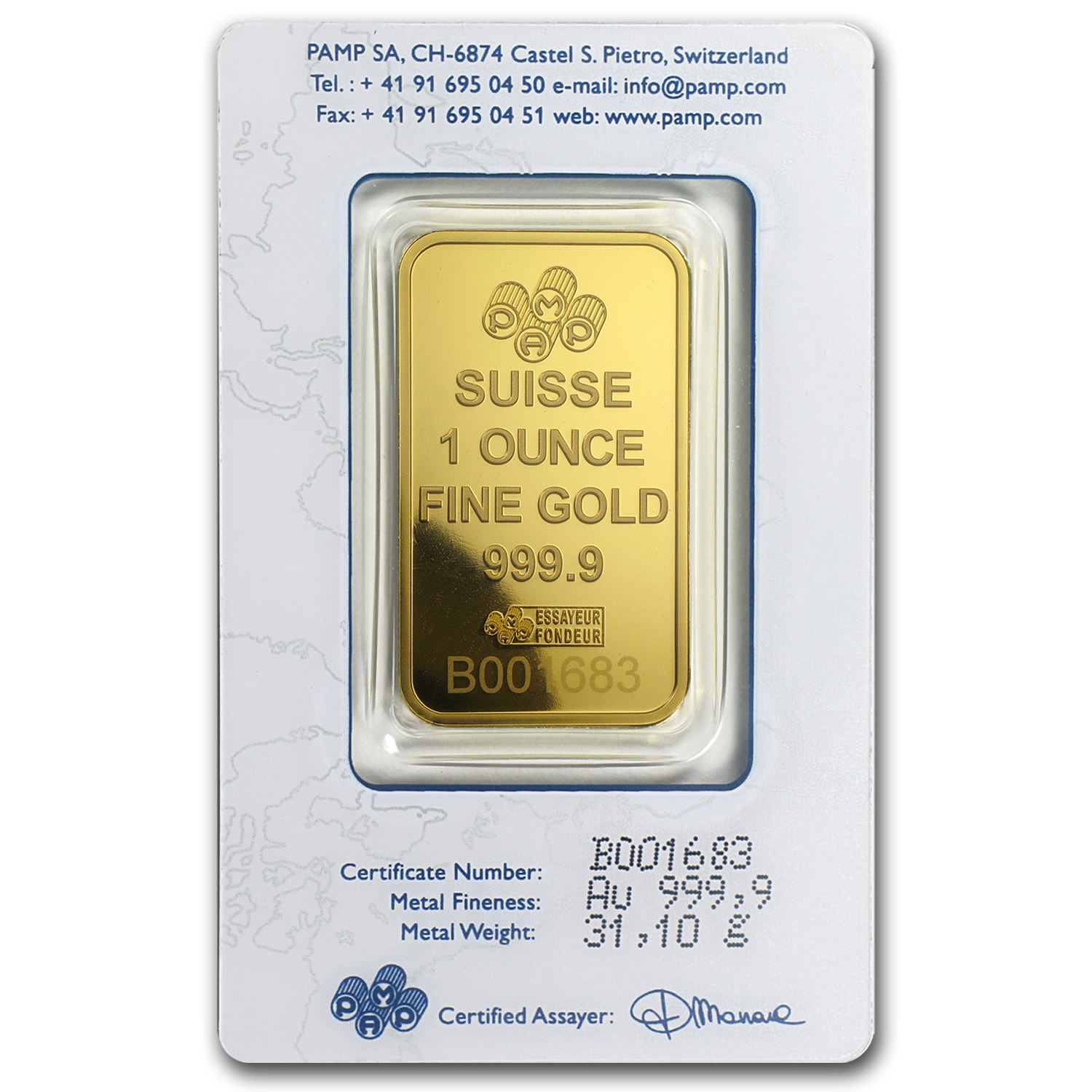1 oz Gold Bar - Pamp Suisse (Rose, w/o Assay)