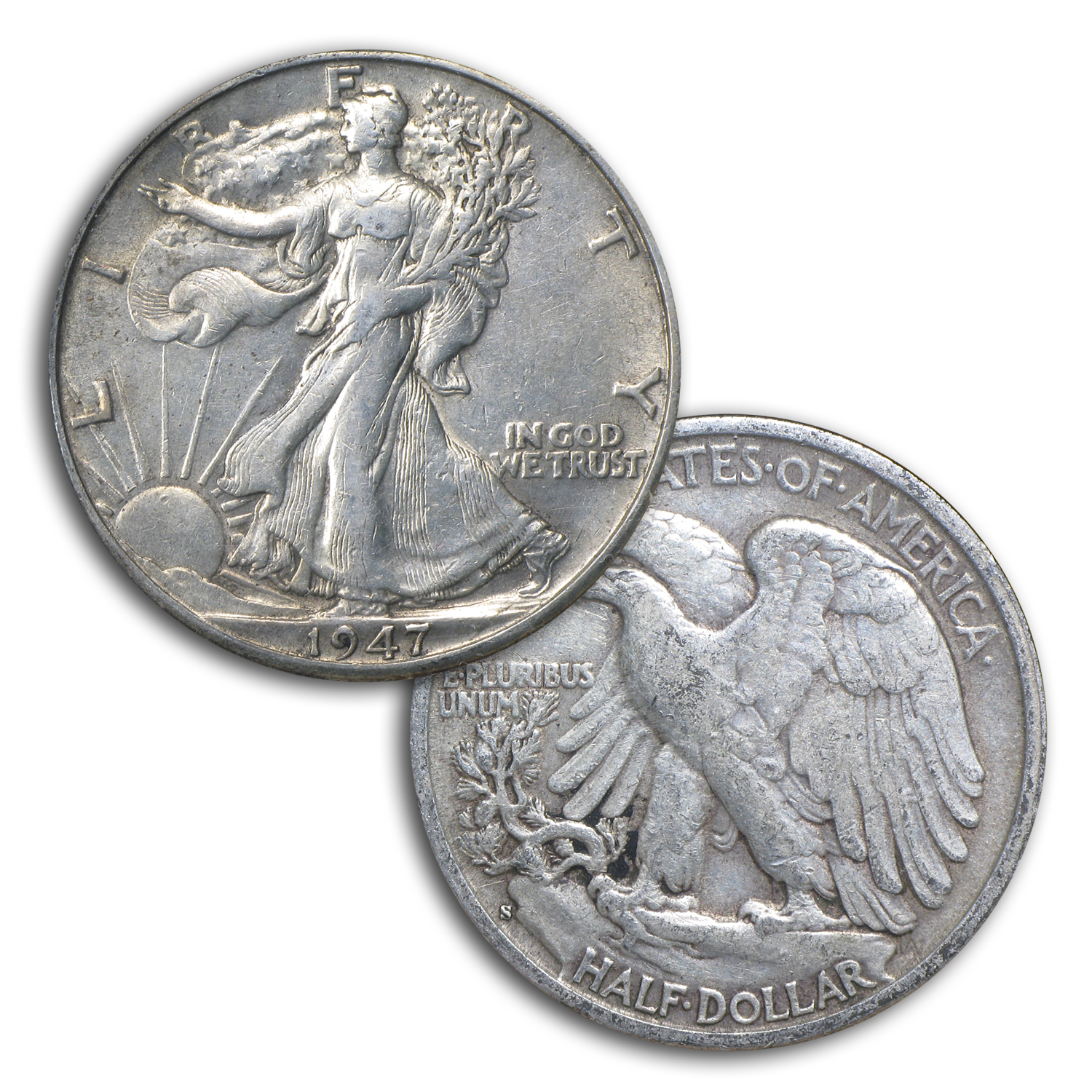 1941-1947 Walking Liberty Halves Short Set XF (In Dansco Album)