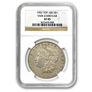 1902 Morgan Dollar Extra Fine-45 NGC VAM-4 Doubled Ear Top-100