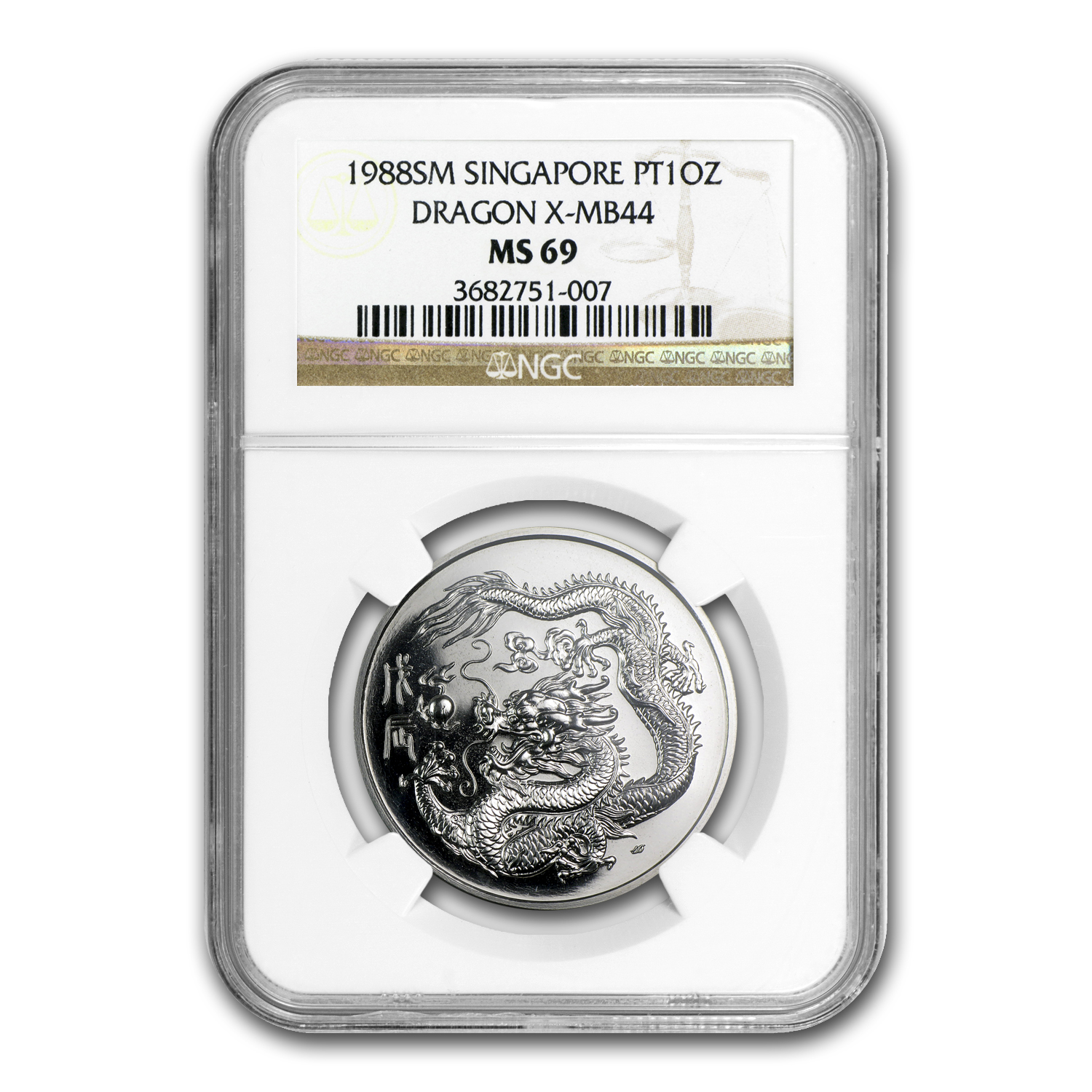 1988 1 oz Platinum Singapore Dragon X-MB44 MS-69 NGC