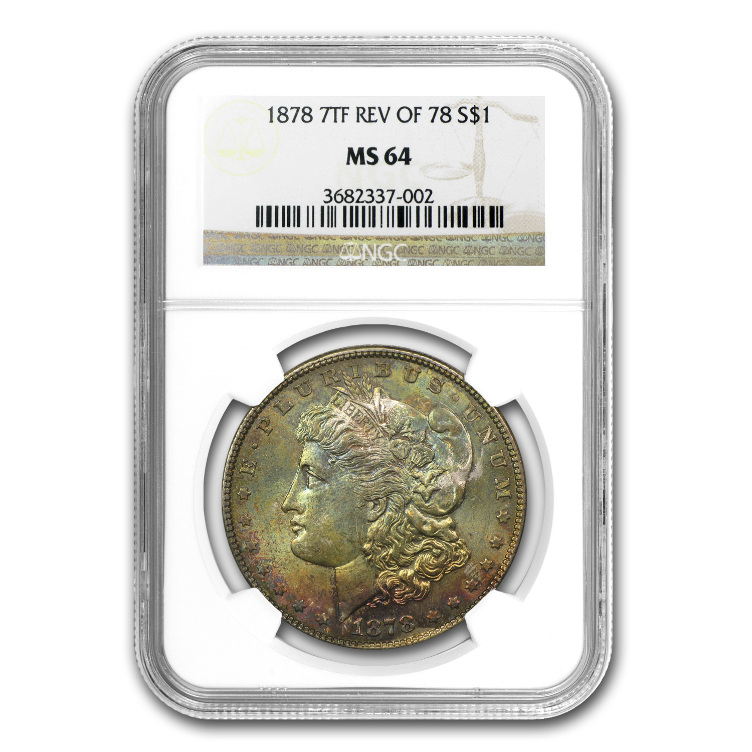 1878 Morgan Dollar 7 TF Rev of 78 MS-64 NGC Toned)
